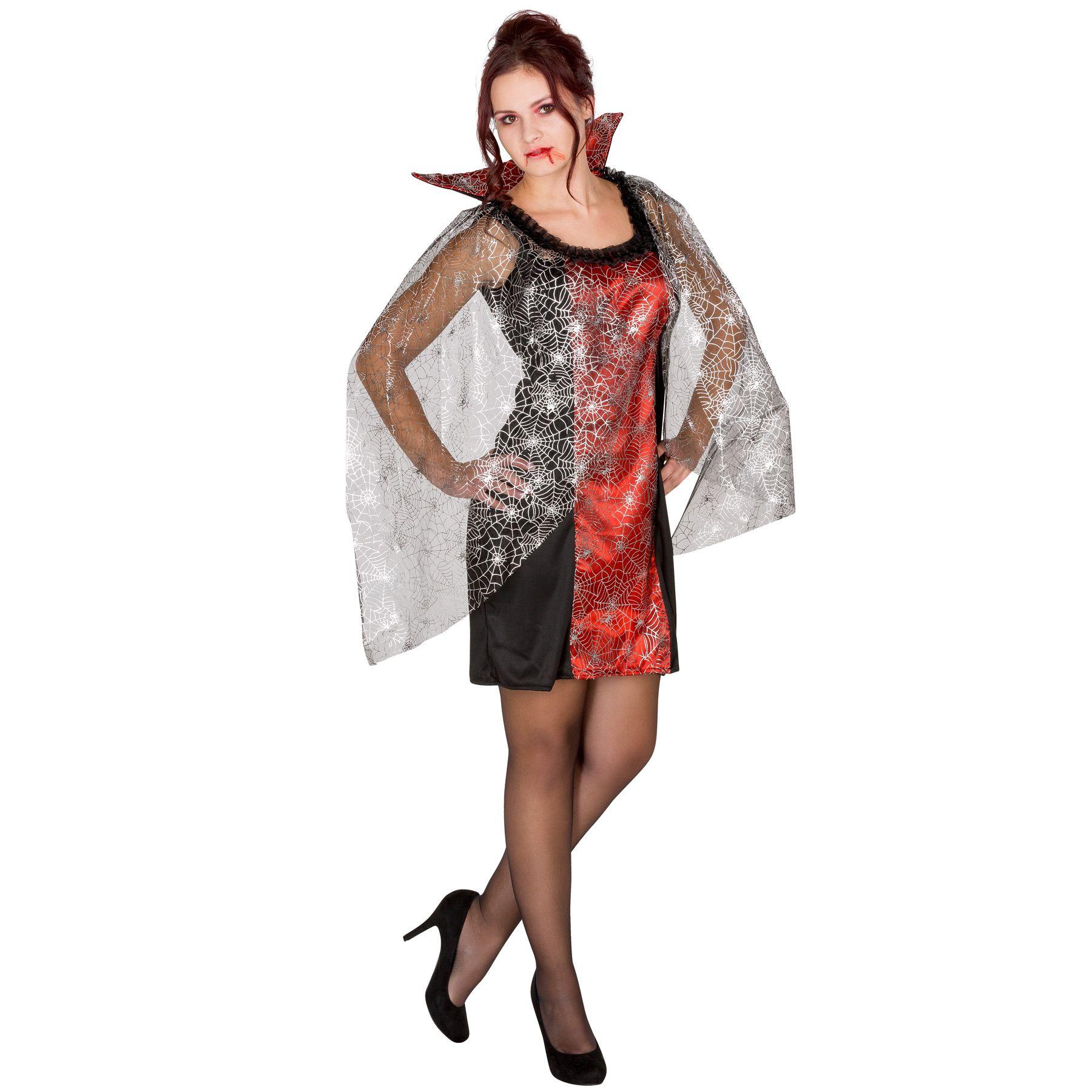 Le Streghe Abito viola con motivo Ragni Costume Halloween Donna Abito Halloween