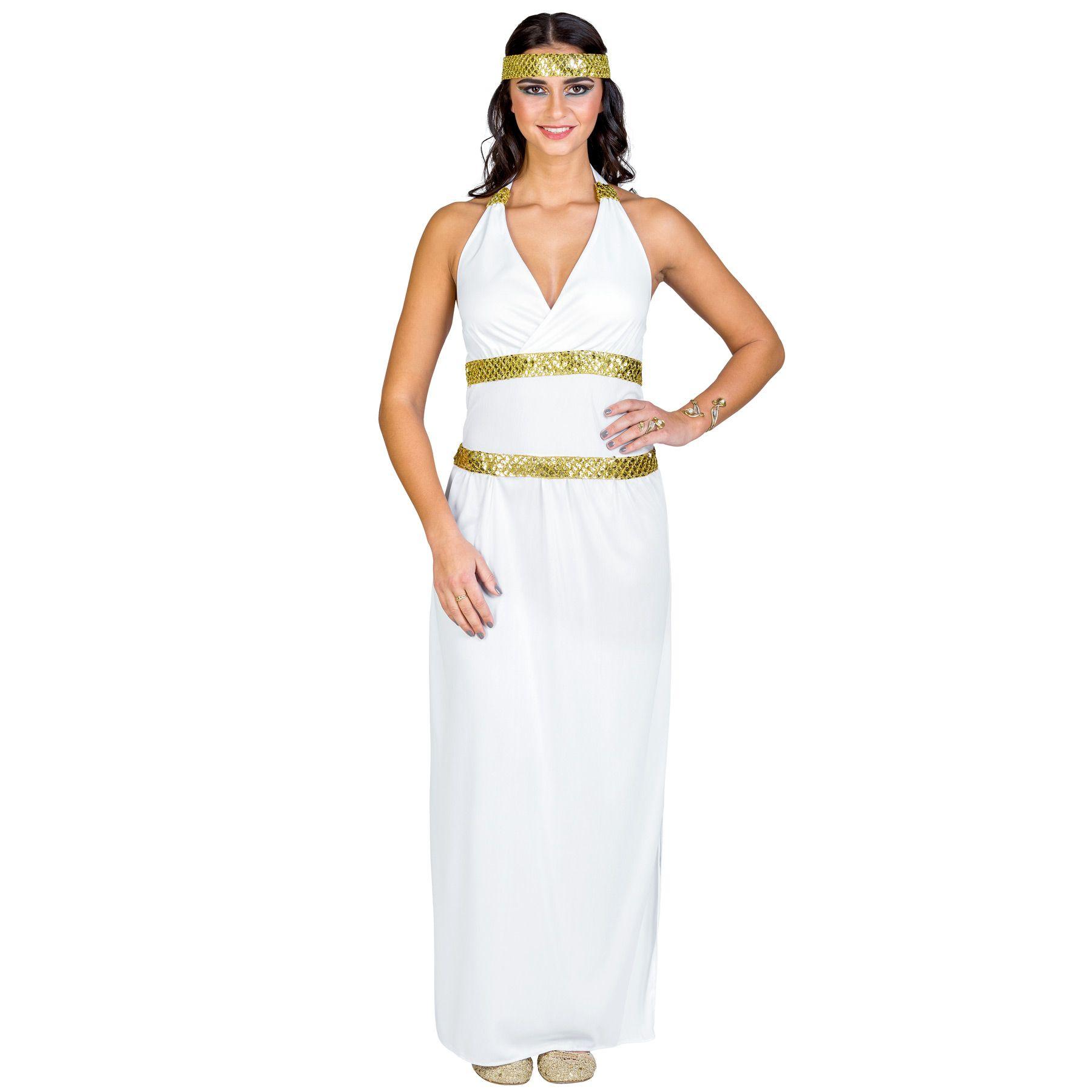 Dea Greca Atena Romano Egiziano Toga Book Week Giorno Costume S-XL