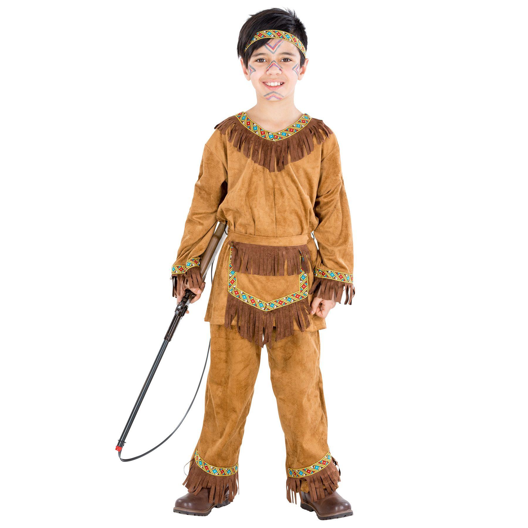 prezzo folle varietà di stili del 2019 nuove foto Dettagli su Costume da Indiano Ragazzo Bambino Indiani d'America Western  Carnevale Halloween