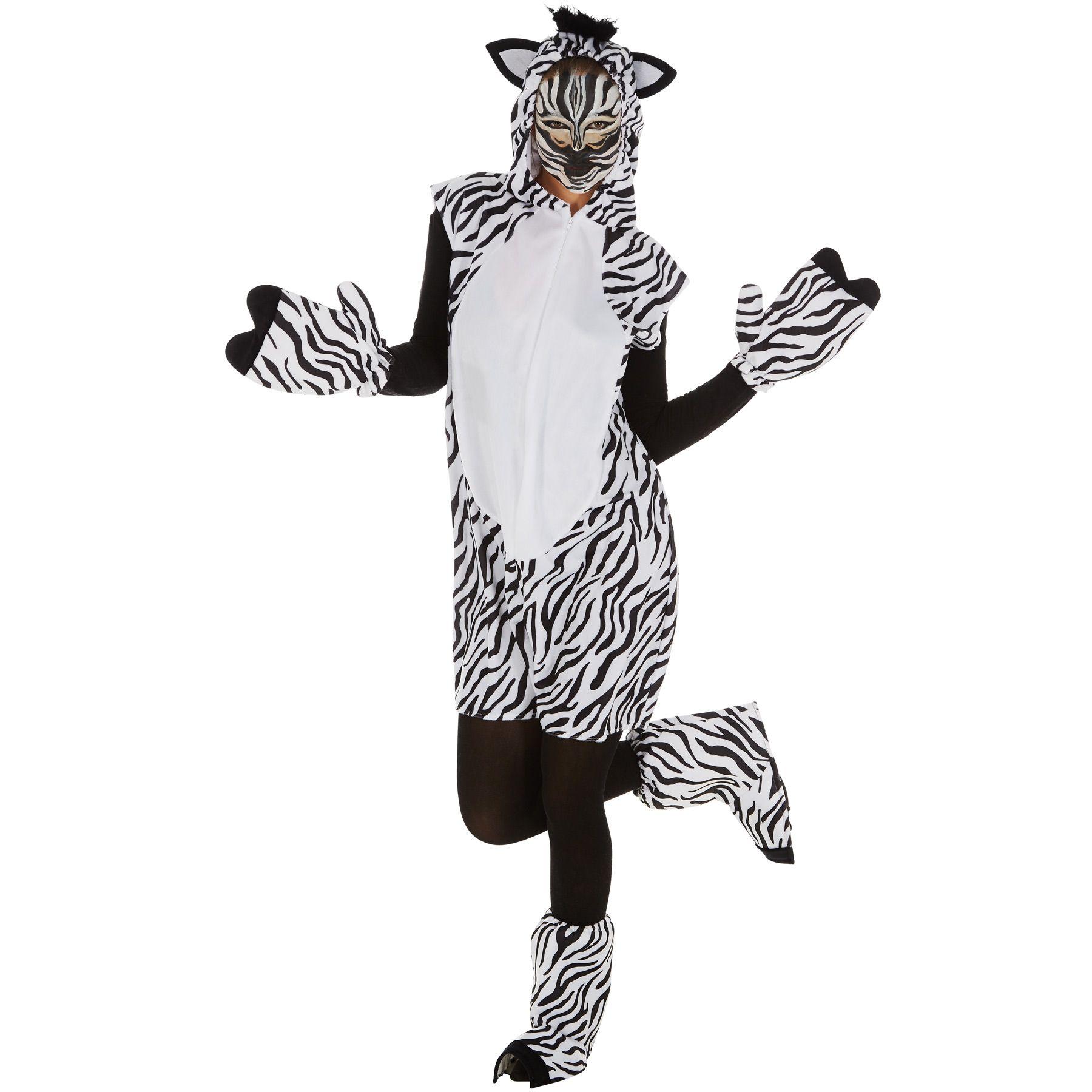 Zebra Kostum Frauen Manner Karneval Fasching Halloween Afrika Safari