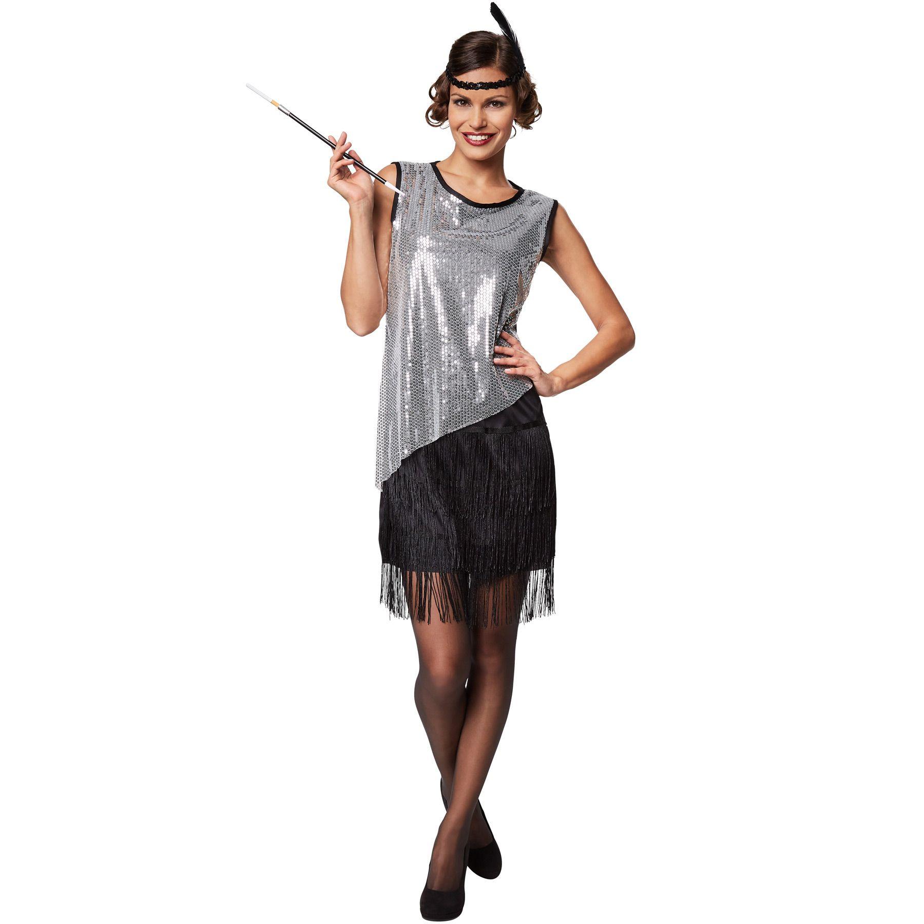Frauenkostüm Charleston 20er Jahre Kostüm Pailletten Karneval Fasching Halloween