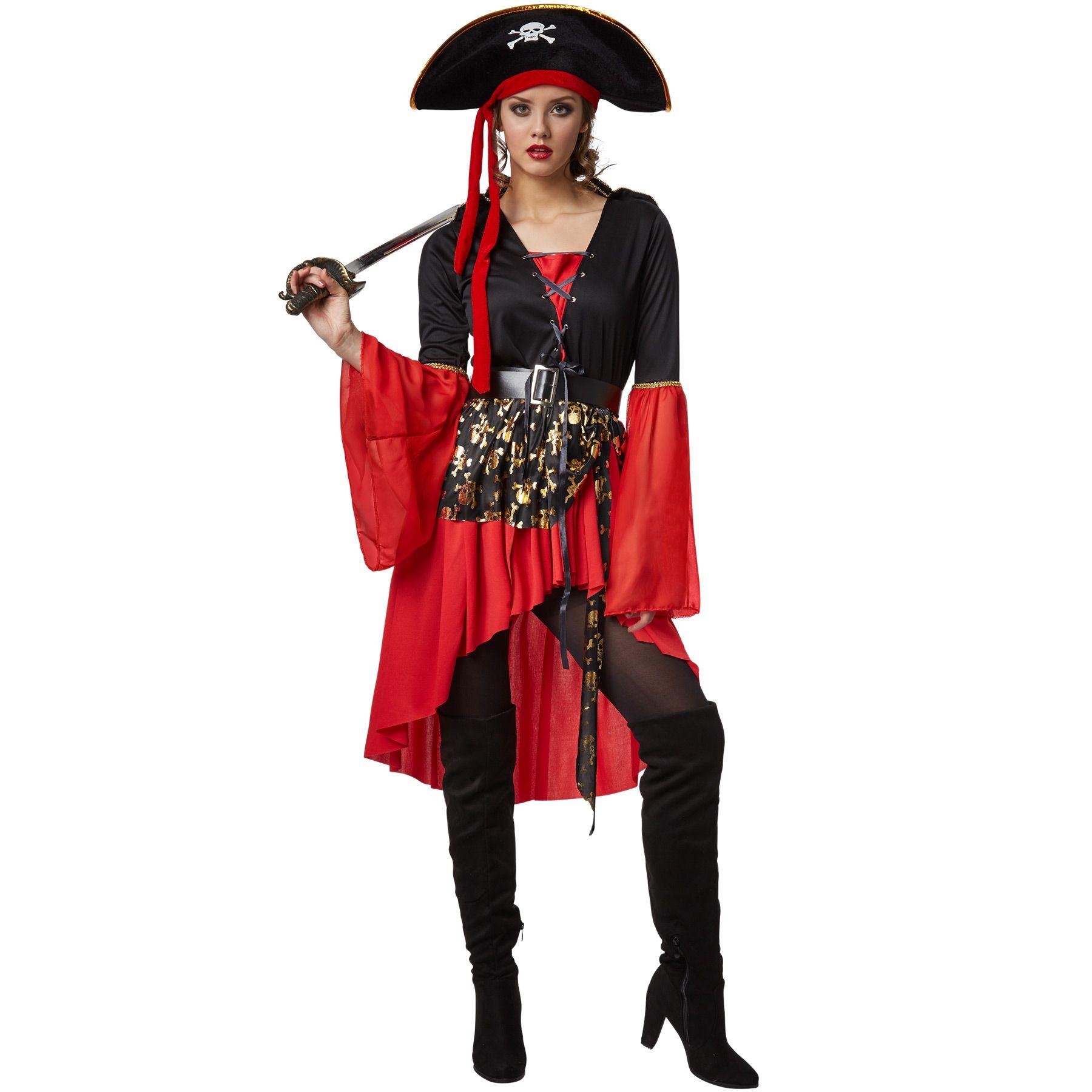 Il costume per donna da regina dei pirati si compone di un abito con  allacciatura a stringhe 2e17d90eee7