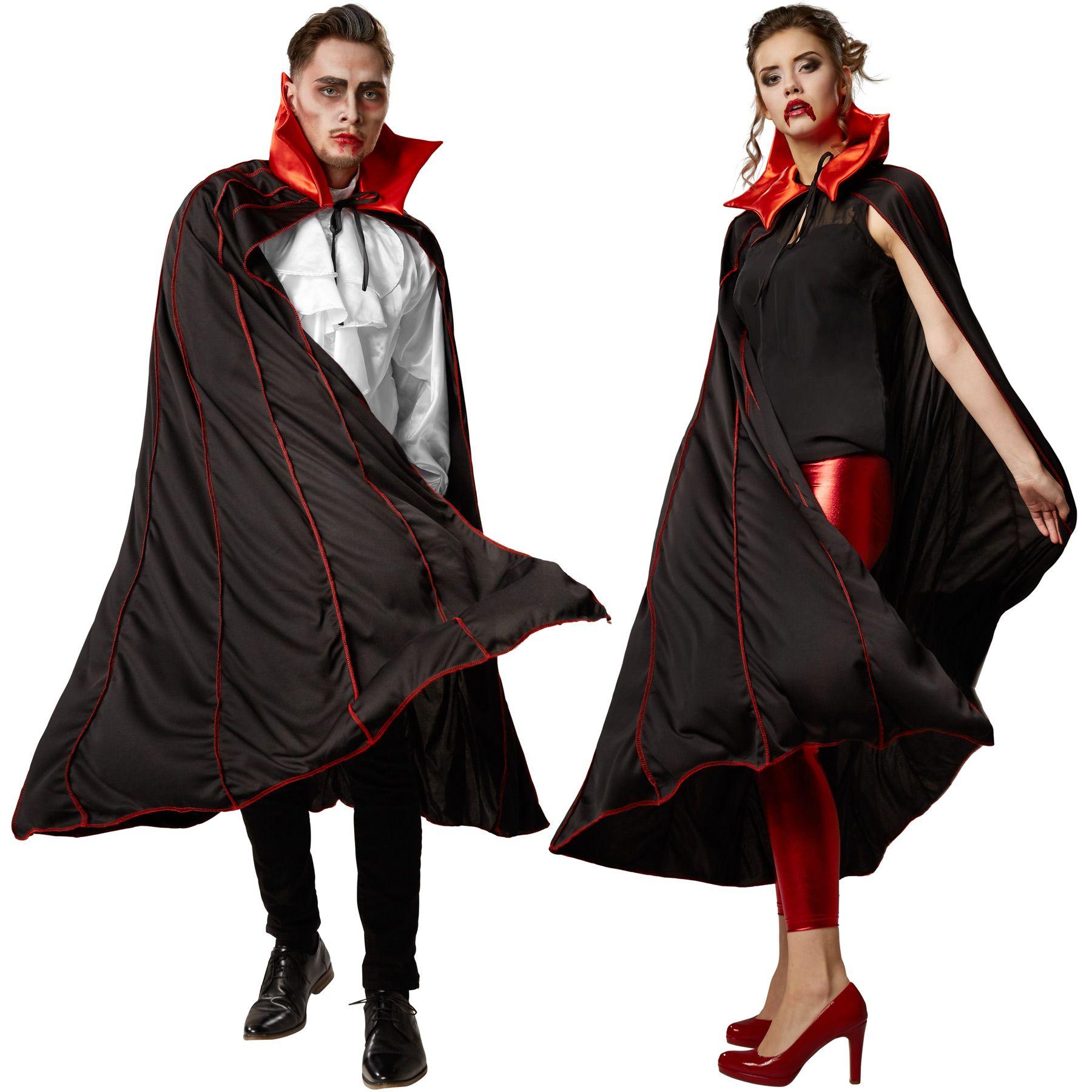 Il costume bicolore unisex Mantello da vampiro con colletto a punte consta  di un mantello a spicchi senza maniche e un colletto a punte da chiudere con  ... c10eb35f7298