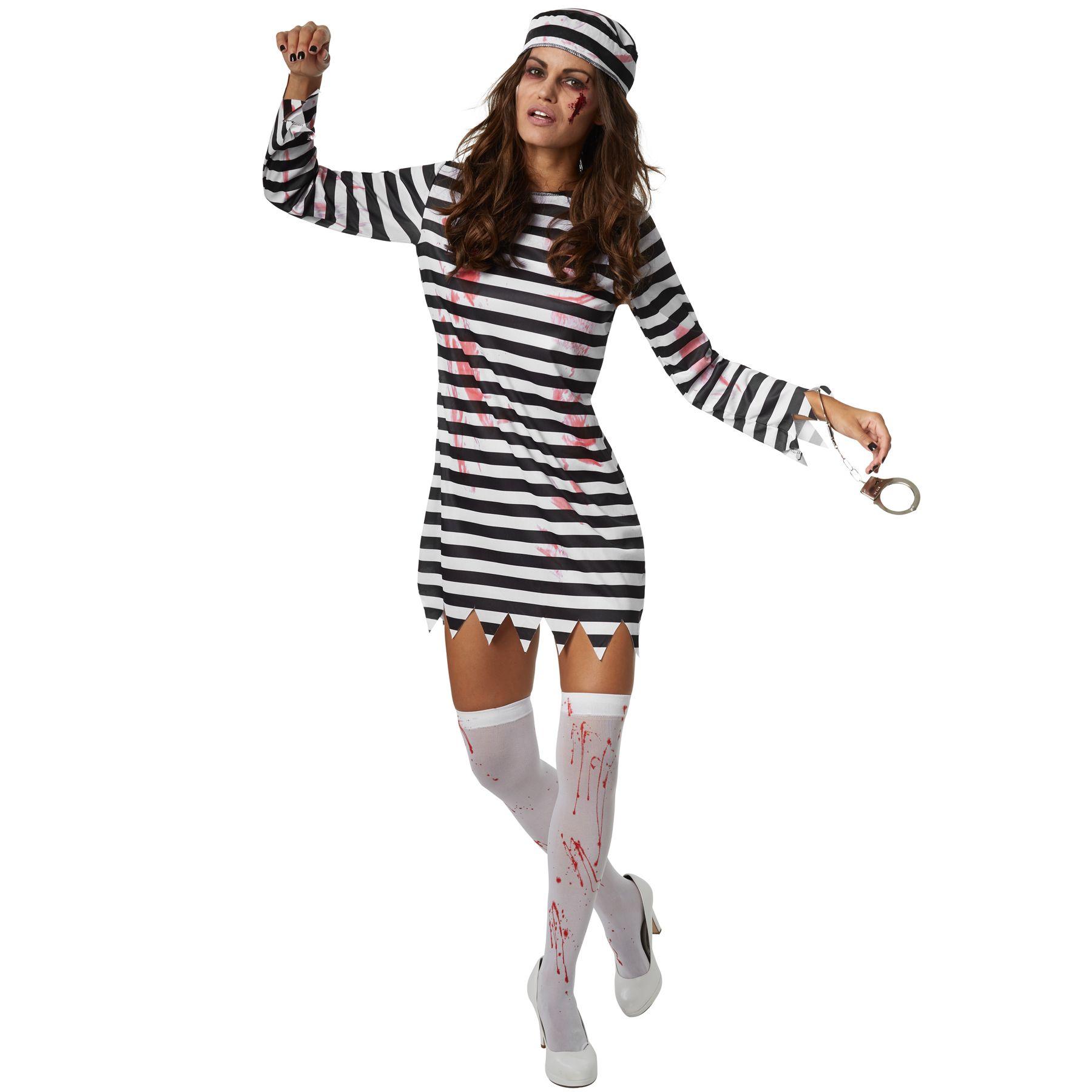 rapporto qualità-prezzo acquista per il meglio immagini ufficiali Dettagli su Costume Donna Zombie Carcerata Prigioniero Galeotto Vestito  Carnevale Halloween