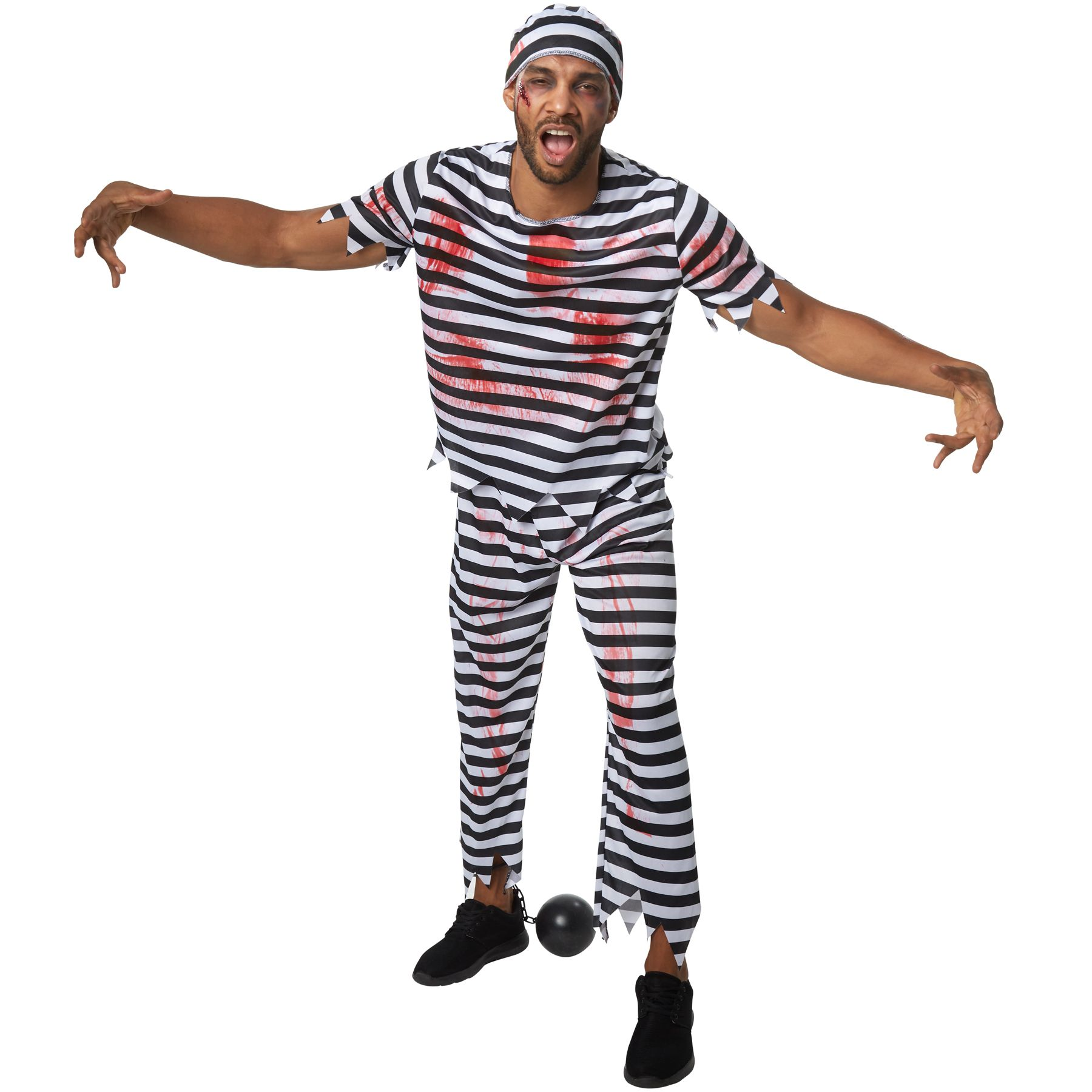 6fa86e8a20c3 Il costume per uomo da terrificante detenuto è costituito da un  travestimento in tre pezzi, a righe bianche e nere, imbrattato di macchie di  sangue.