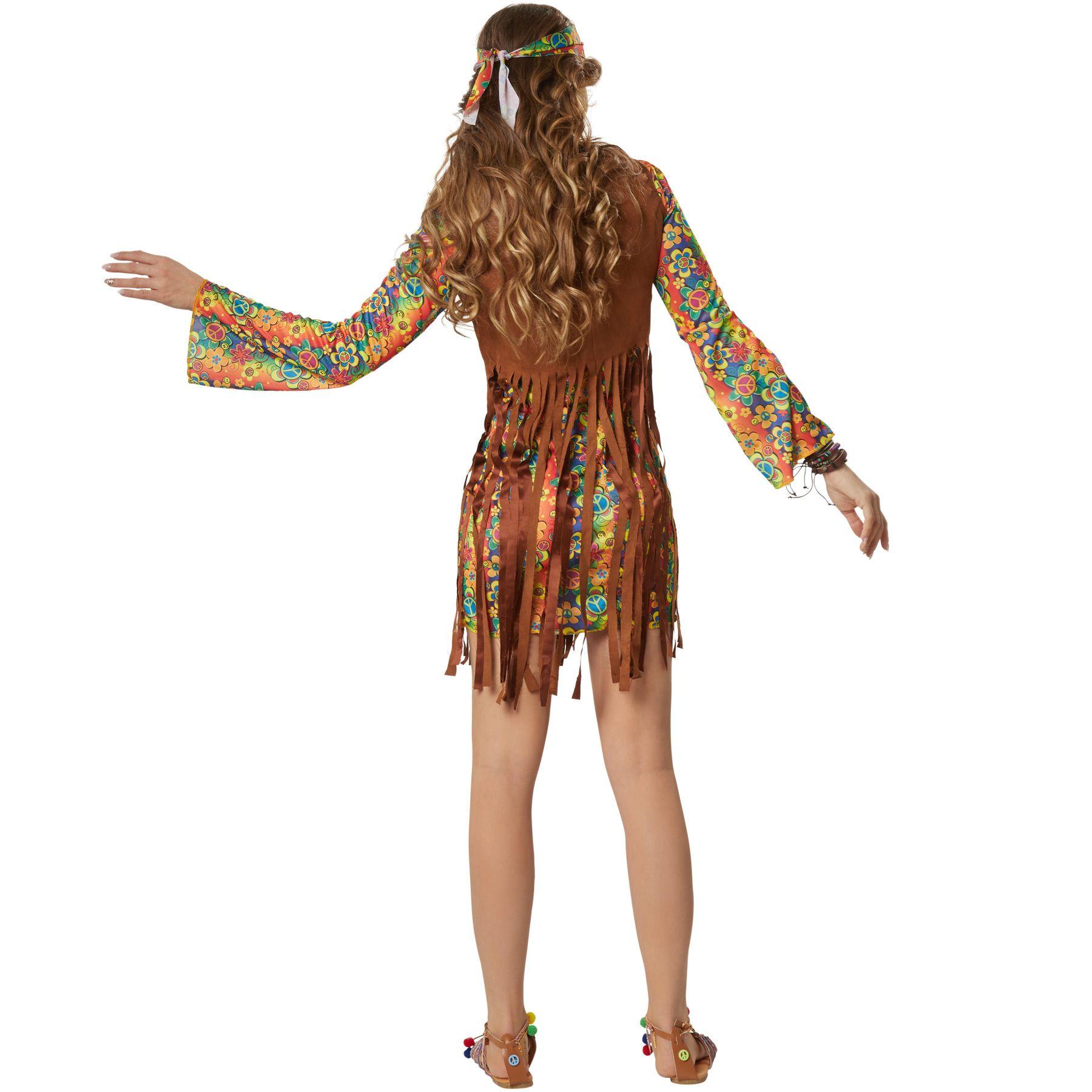 Top Damen Hippie Retro Kostüm 60er 70er Jahre Pop Disco: Kostüm Damen Hippie Boho Squaw 60er 70er Flower Power