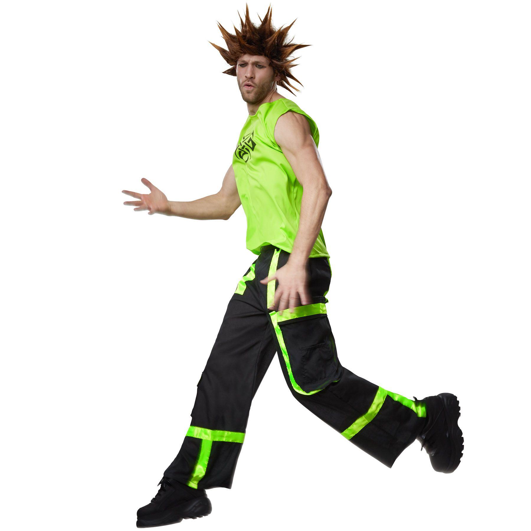 Raver Kostüm Techno 90er Neon Disco Party Männer Verkleidung