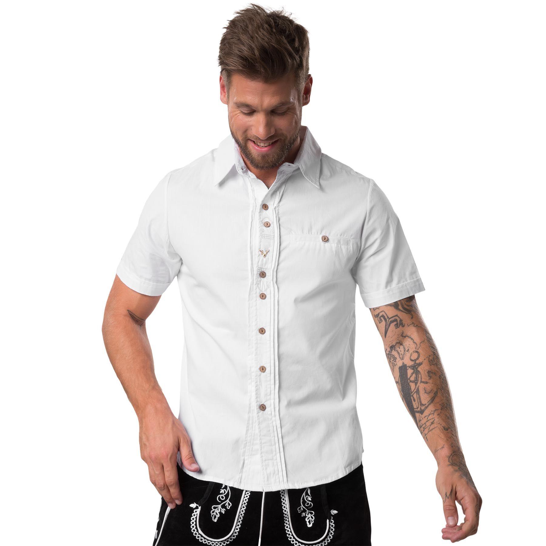 TRACHTEN Camicia Uomo Camicia Uomo Manica Lunga A Maniche Corte Elegante Bianco puro cotone bianco