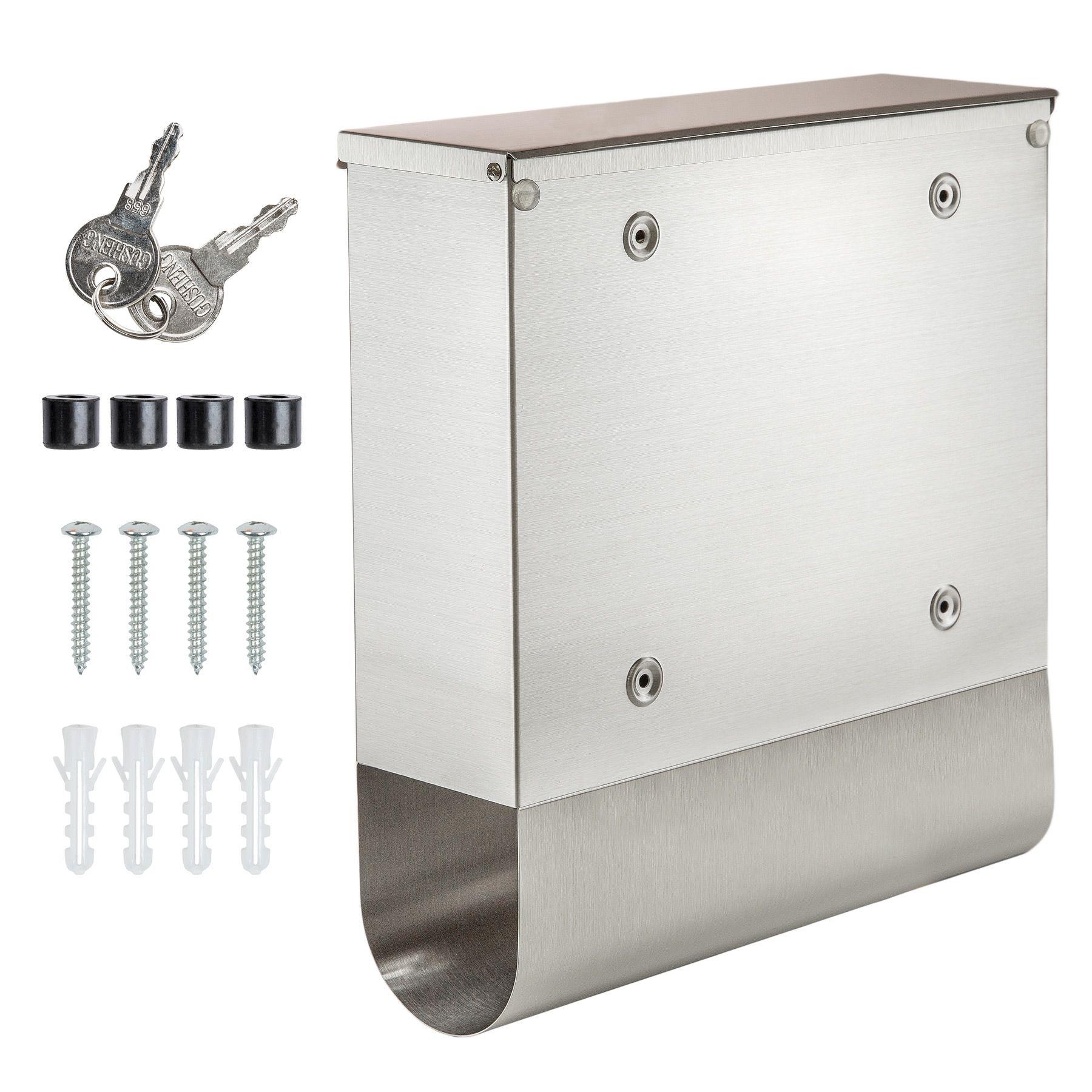 edelstahl briefkasten postkasten zeitungsfach zeitungsrolle wand mailbox ebay. Black Bedroom Furniture Sets. Home Design Ideas