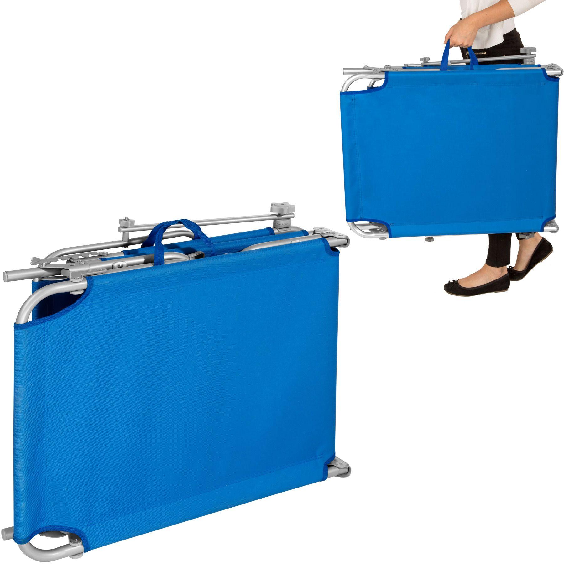 gartenliege sonnenliege strandliege freizeitliege mit sonnendach 190cm blau ebay. Black Bedroom Furniture Sets. Home Design Ideas