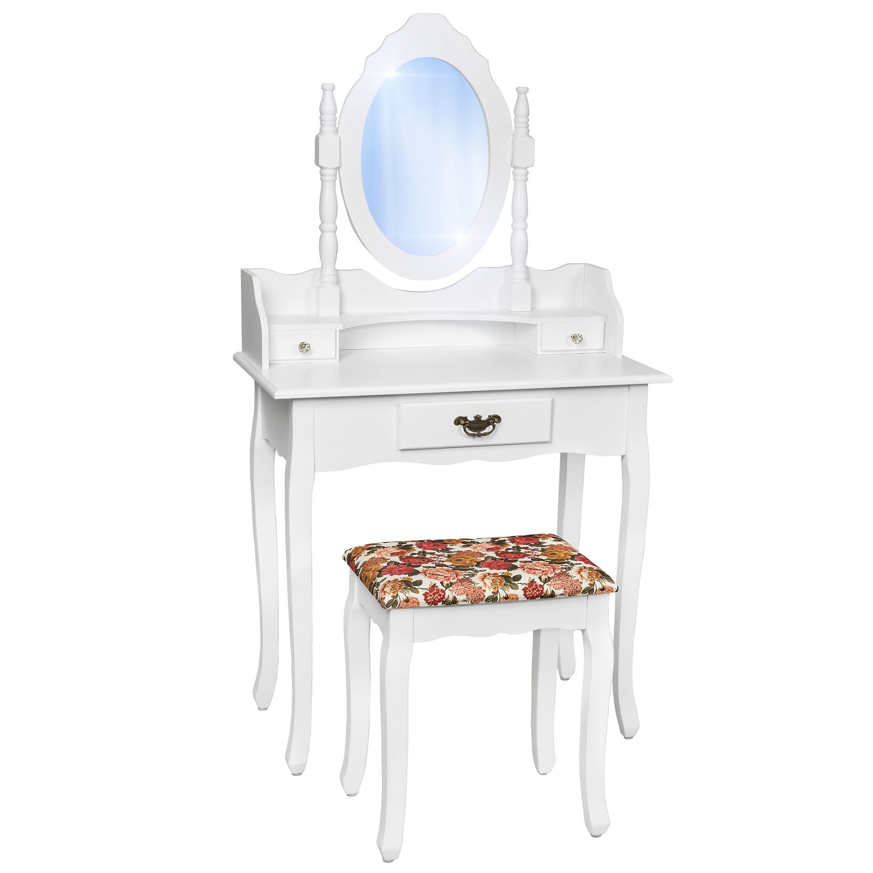 coiffeuse meuble table de maquillage tabouret commode avec miroir blanc ebay. Black Bedroom Furniture Sets. Home Design Ideas