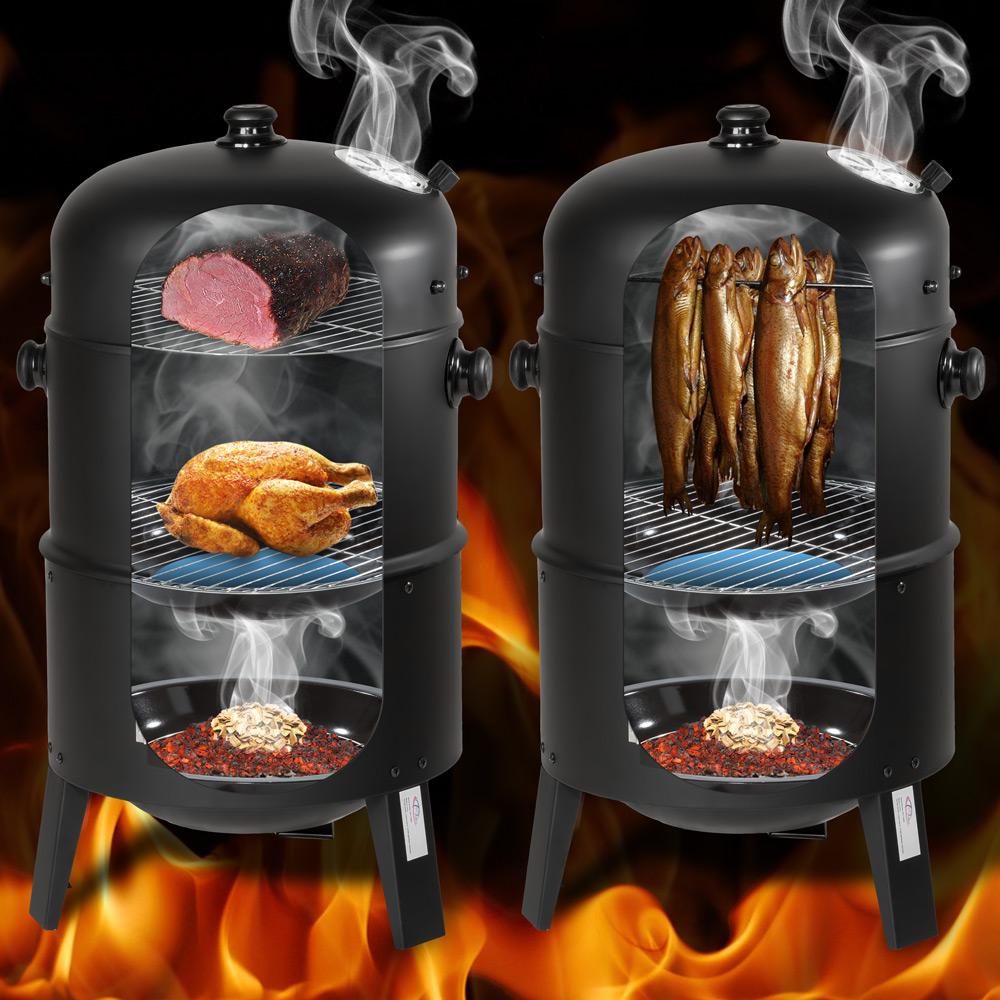 bbq holzkohle grill barbecue smoker r ucherofen grillwagen gartengrill ebay. Black Bedroom Furniture Sets. Home Design Ideas