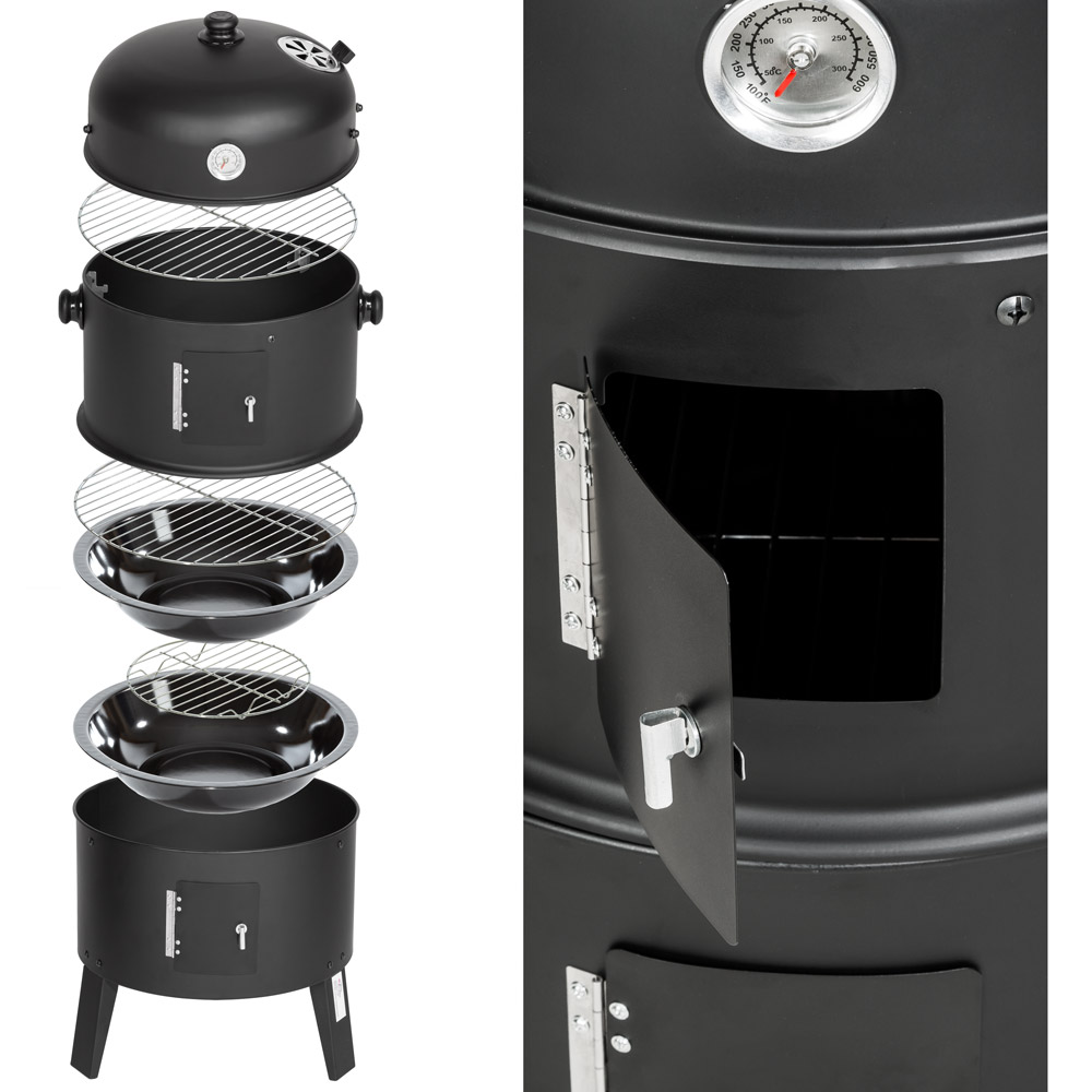 3in1 bbq holzkohlegrill barbecue smoker r uchertonne r uchergrill grilltonne ebay. Black Bedroom Furniture Sets. Home Design Ideas
