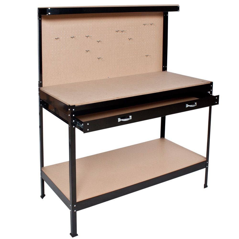 Portautensili officina tavolo da lavoro banco porta attrezzi 2 cassetti ripiani
