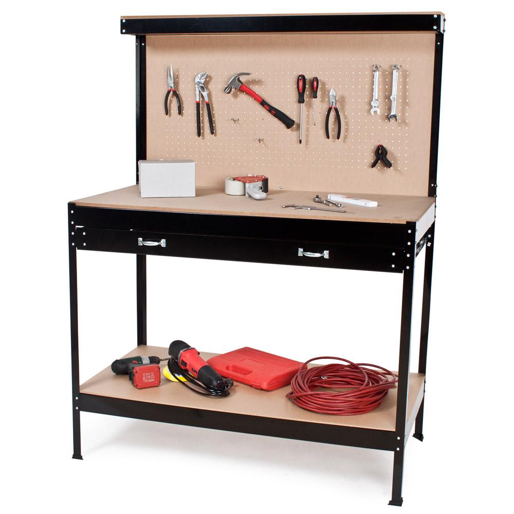 tabli d 39 atelier 156x60x120 cm avec panneau outils et tiroir de rangement ebay. Black Bedroom Furniture Sets. Home Design Ideas