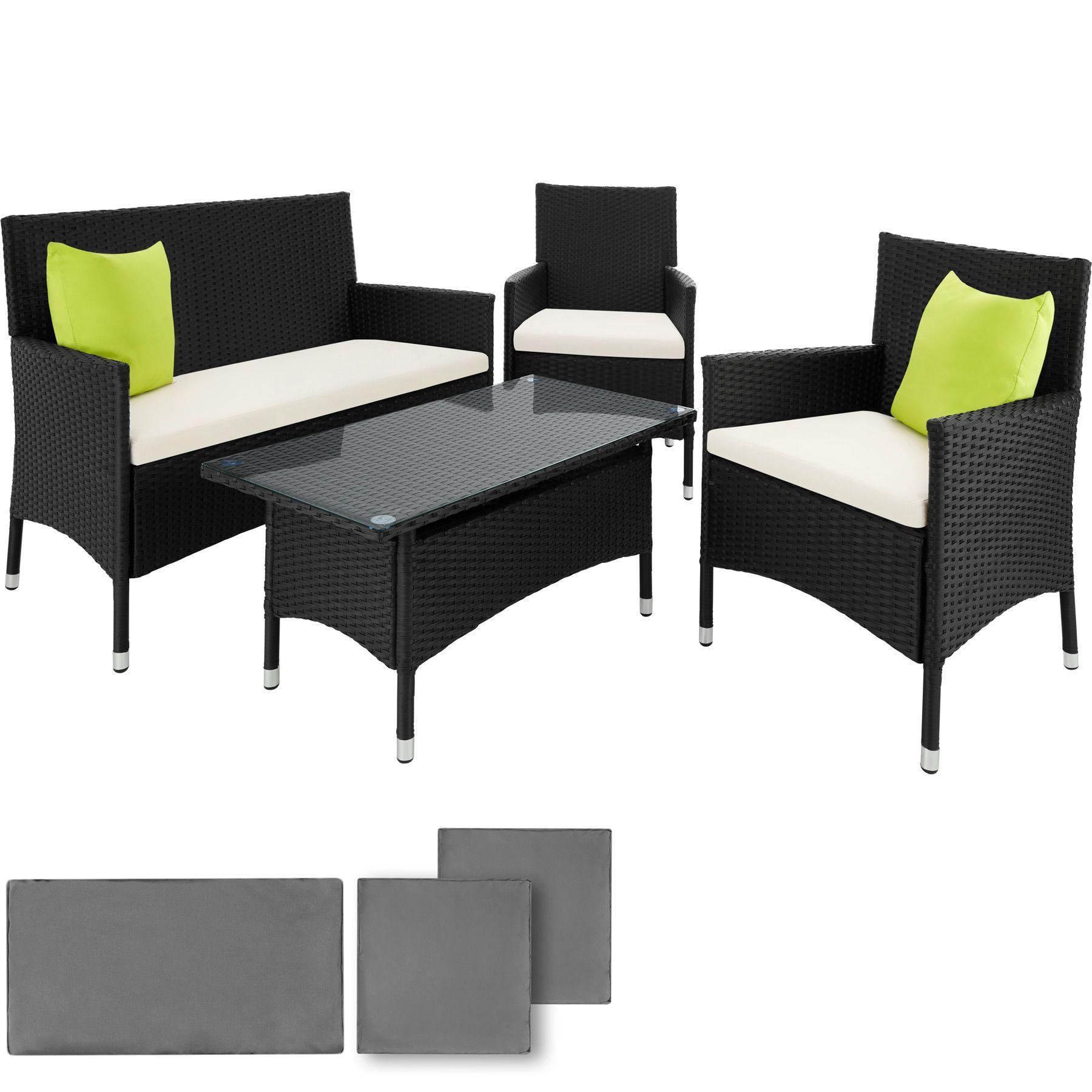 Détails sur Alu Ensemble Salon de jardin résine tressée poly rotin canapé  table 2 fauteuils