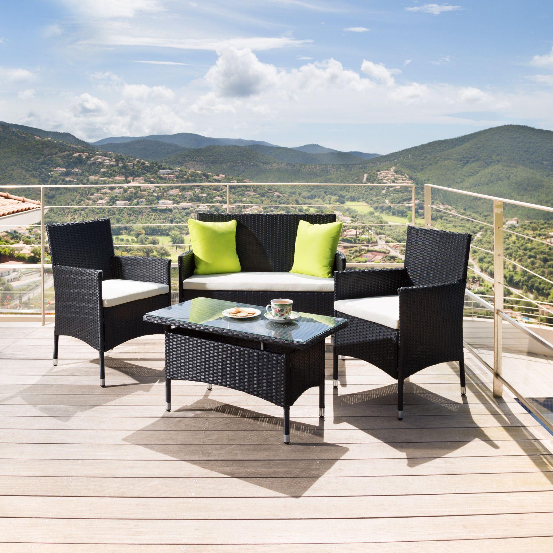 Alu Ratán sintético Muebles de jardín Conjunto para jardín Comedor ...