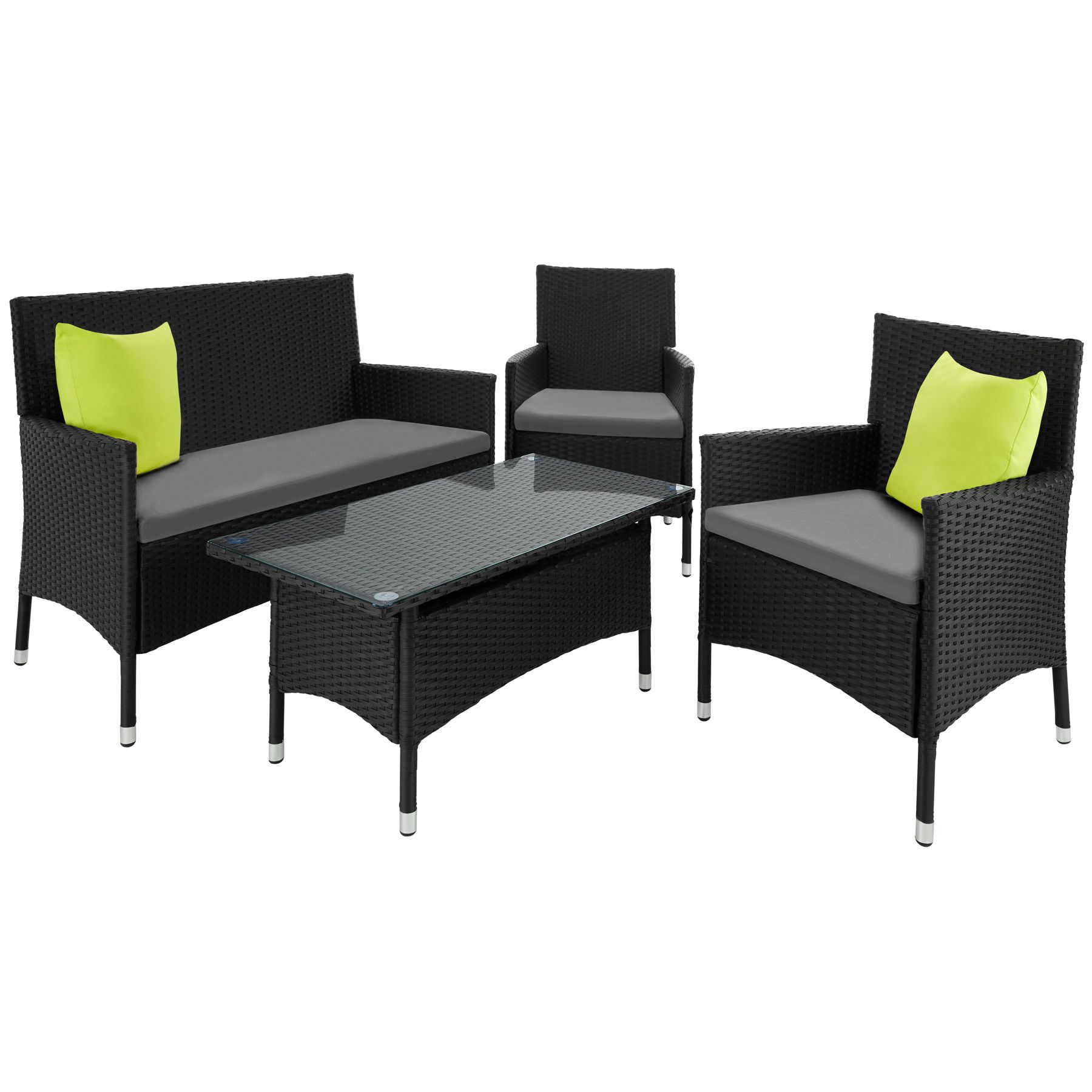 Alu Ensemble Salon De Jardin R Sine Tress E Poly Rotin Canap  # Table De Jardin Resine Noir