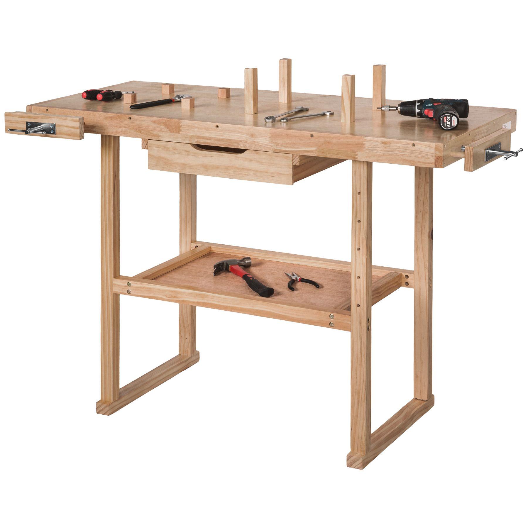 holz werkbank mit schraubstock werktisch arbeitstisch hobelbank handwerkstisch ebay. Black Bedroom Furniture Sets. Home Design Ideas