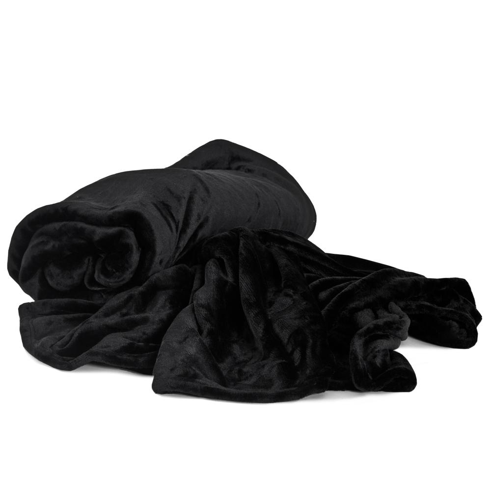 tagesdecke bett berwurf kuscheldecke schlafdecke 220x240 schwarz mit tragetasche ebay. Black Bedroom Furniture Sets. Home Design Ideas