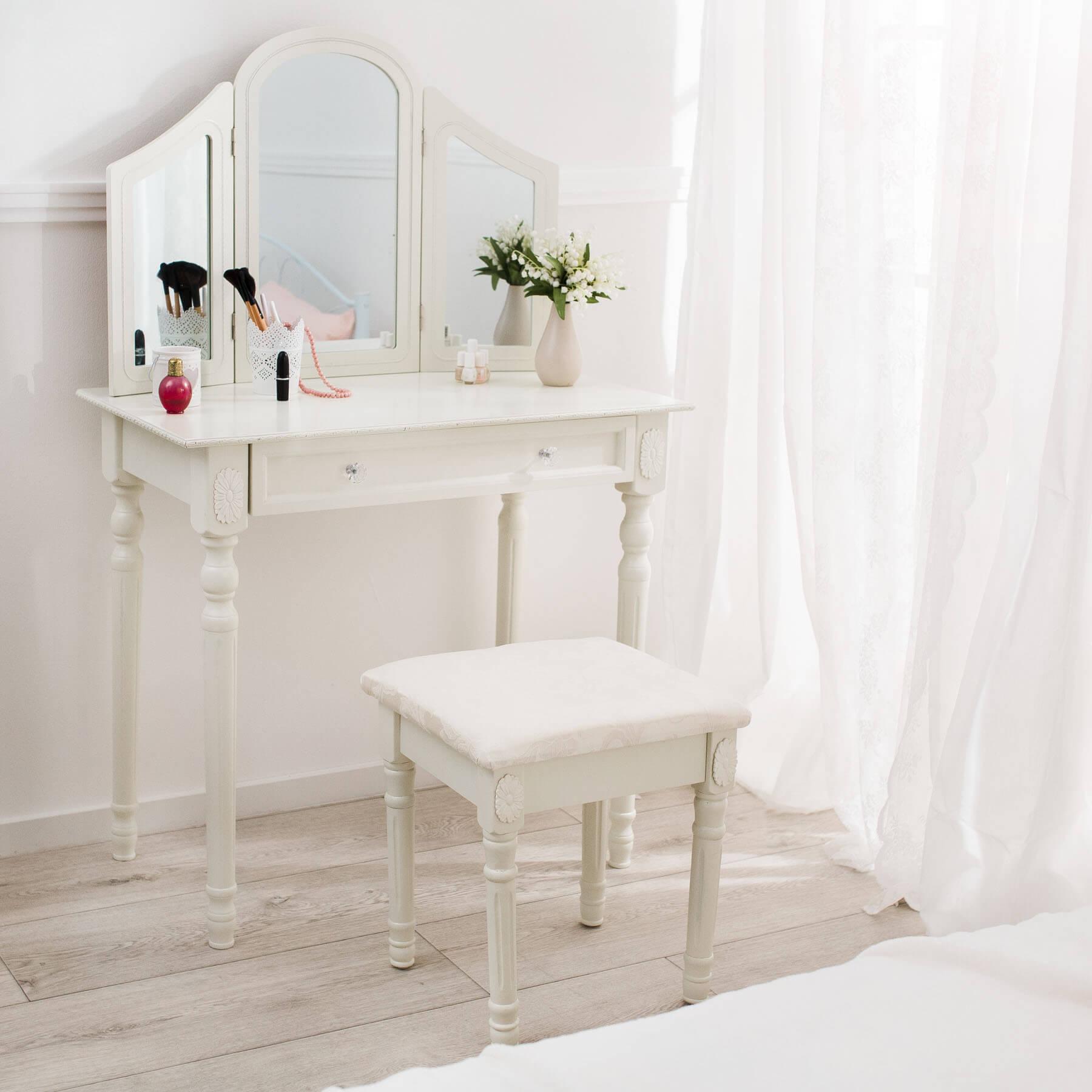 schminktisch kosmetiktisch frisierkommode frisiertisch mit spiegel hocker ebay. Black Bedroom Furniture Sets. Home Design Ideas