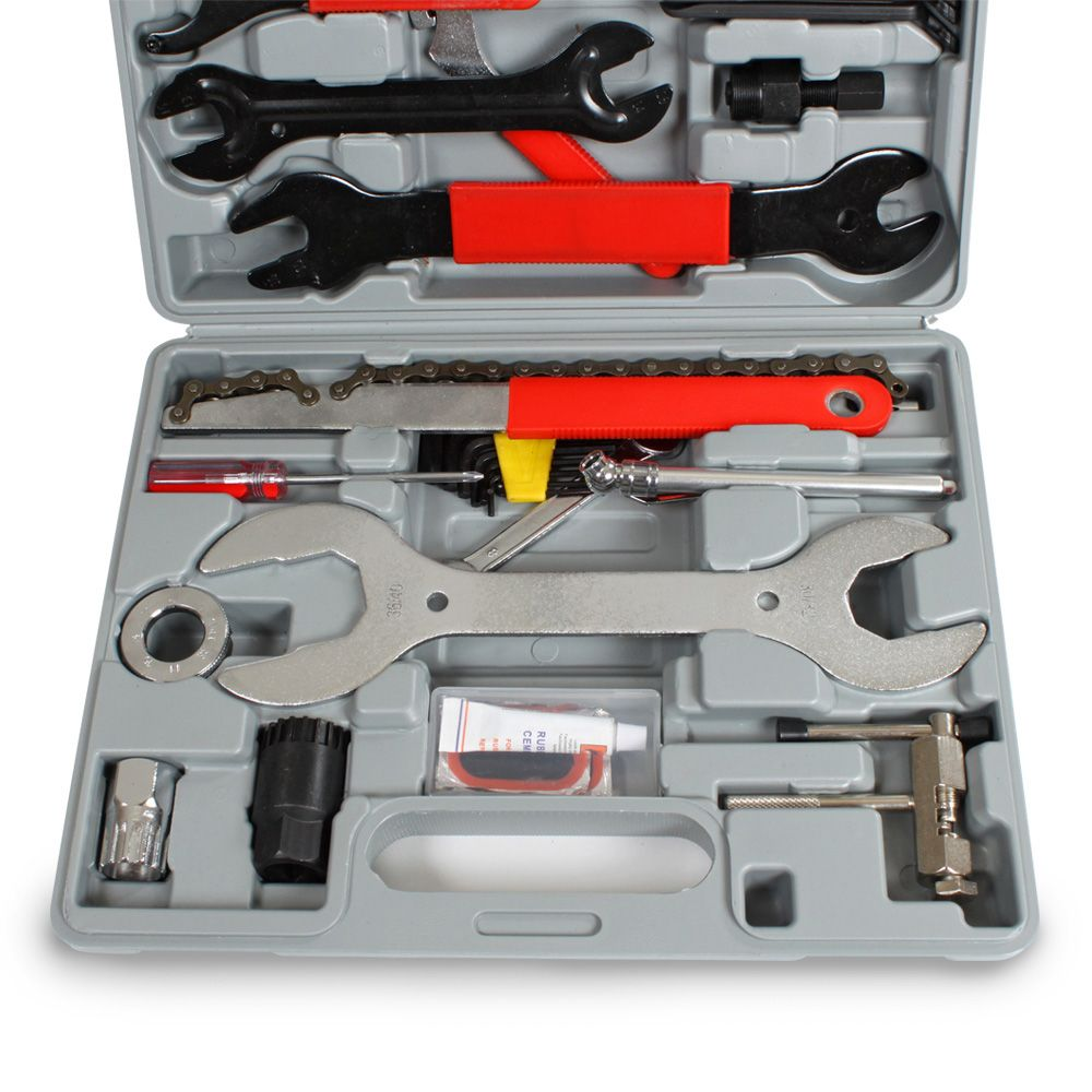 44tlg fahrrad werkzeug reparatur bike tool box set. Black Bedroom Furniture Sets. Home Design Ideas