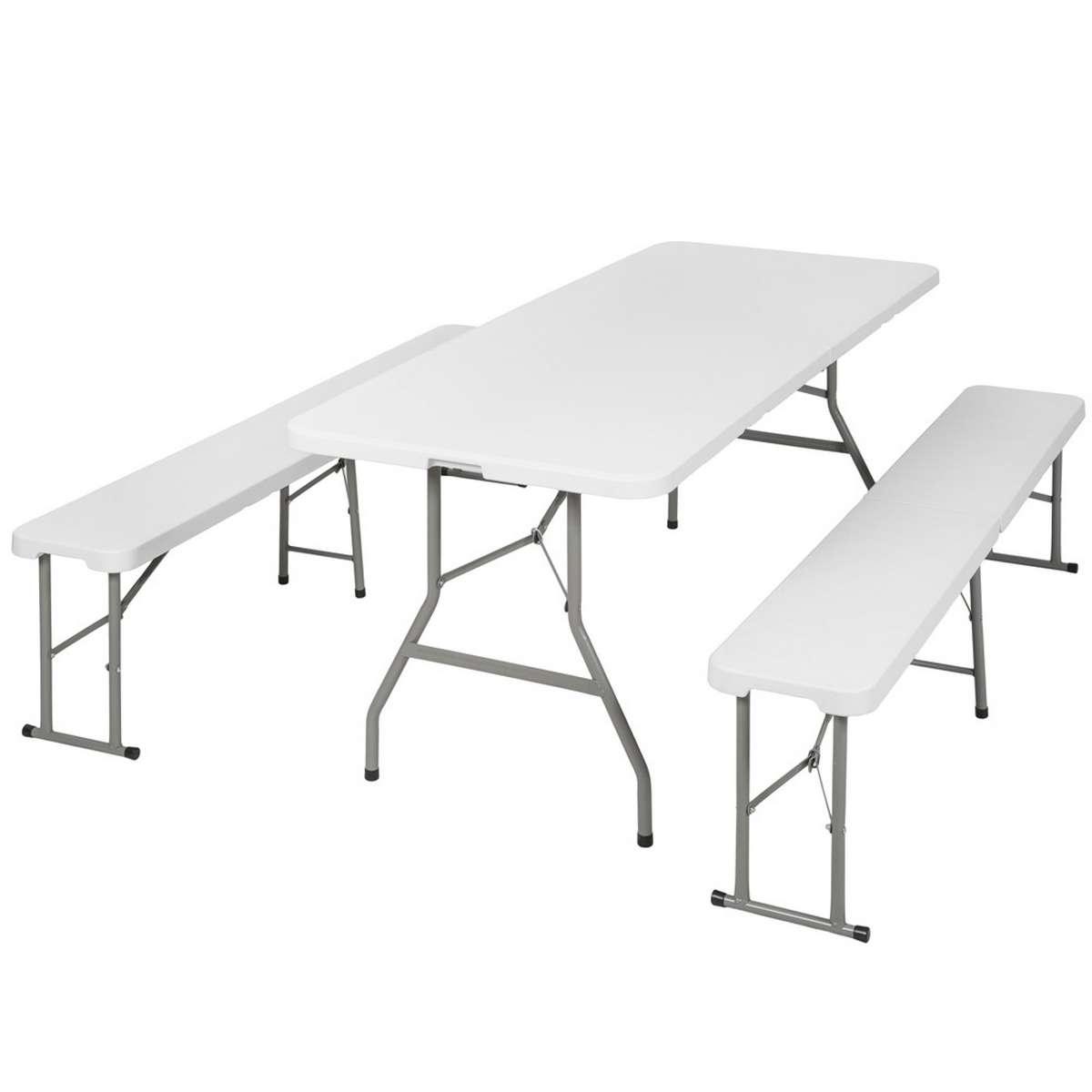 Table Bancs Camping Pliable Ensemble Table Buffet Banc Pliant Jardin