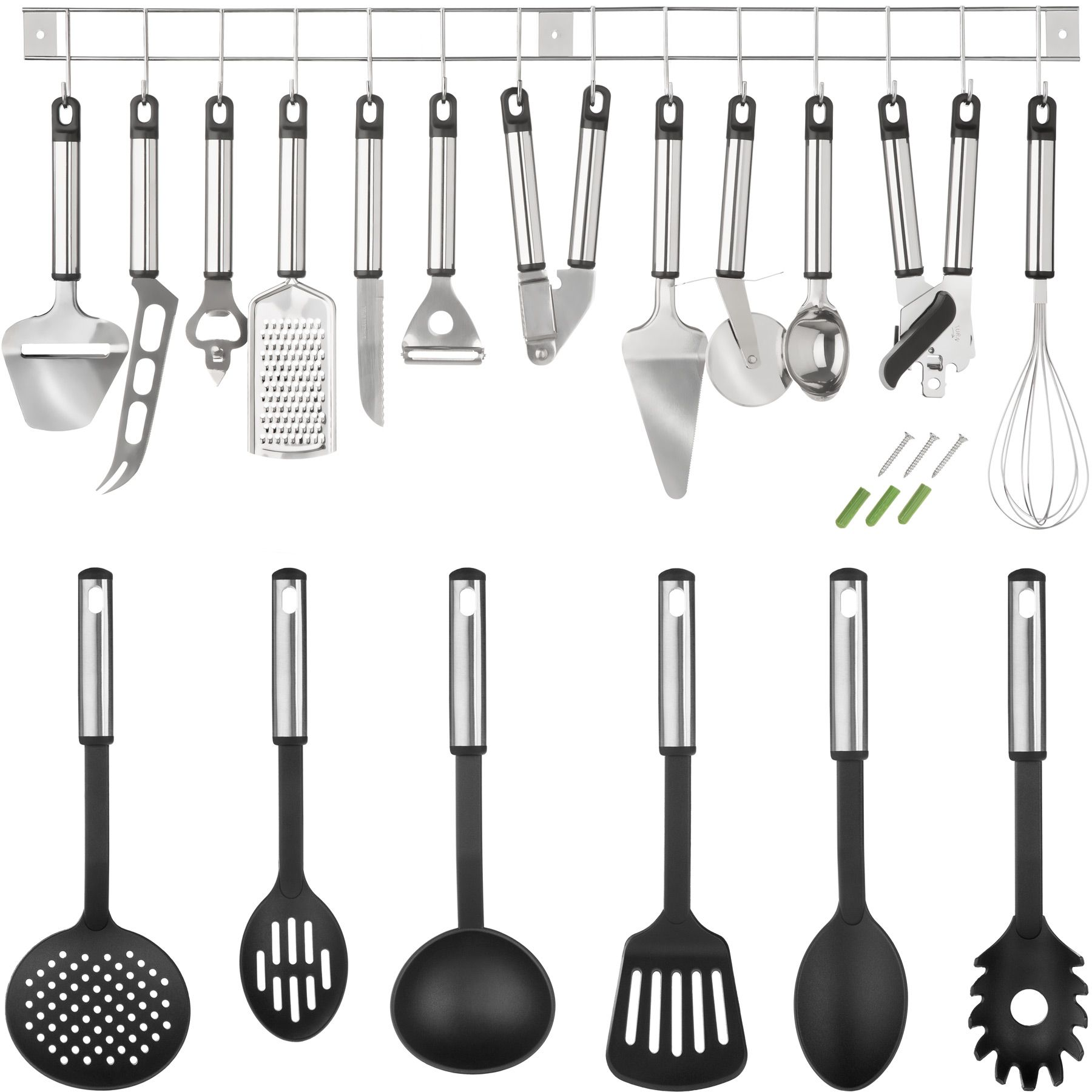 ustensiles de cuisine lot de 19 pi ces accessoires set en acier inoxydable ebay. Black Bedroom Furniture Sets. Home Design Ideas