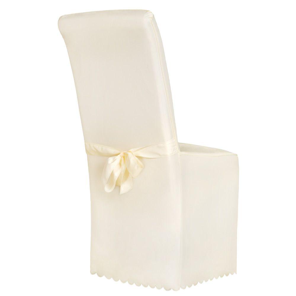 Dettagli su Coprisedie della sedia rivestimento matrimonio universale con fiocco beige nuovo