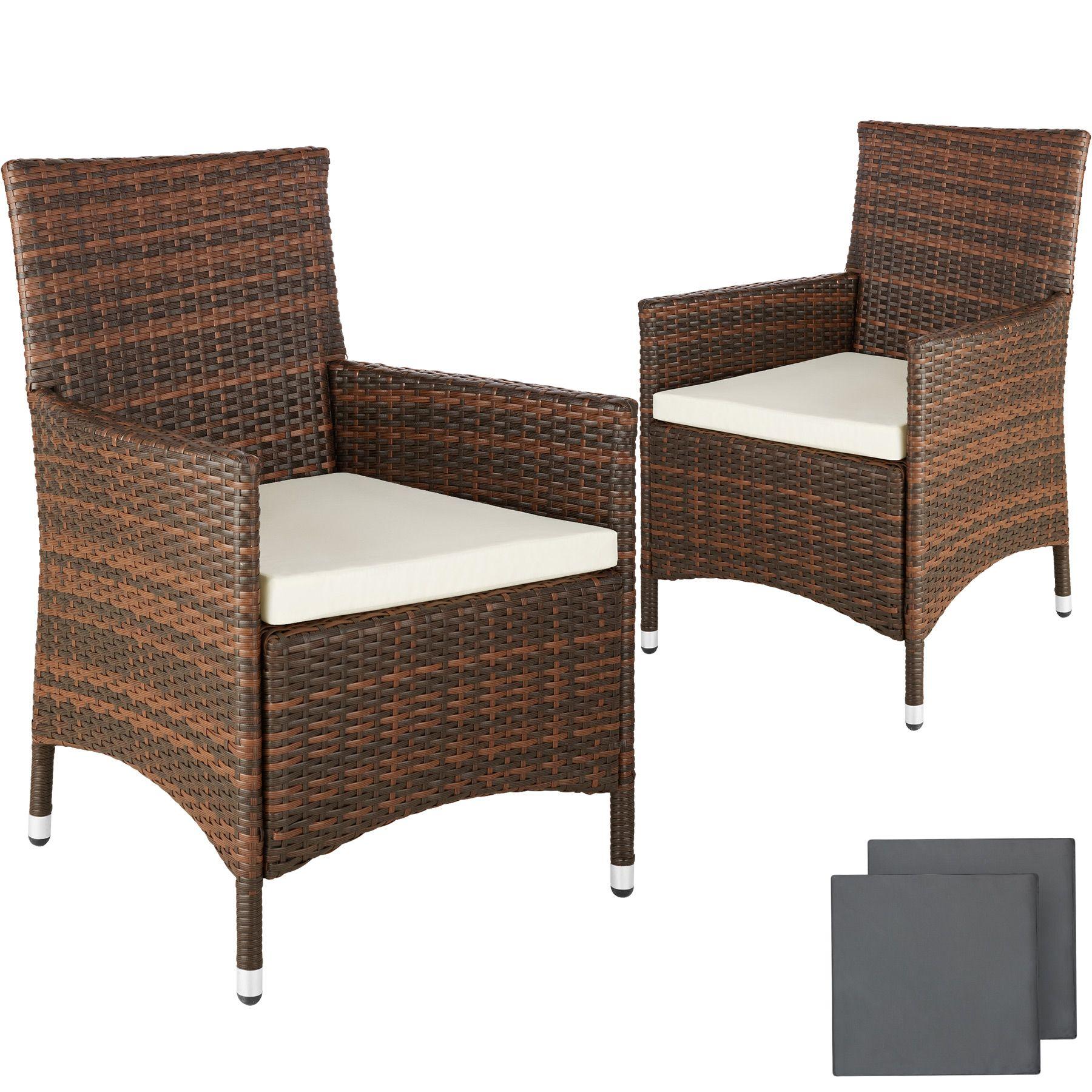 Set Giardino In Rattan.2 X Poly Rattan Garden Chairs Alu Wicker Outdoor Armchair Set