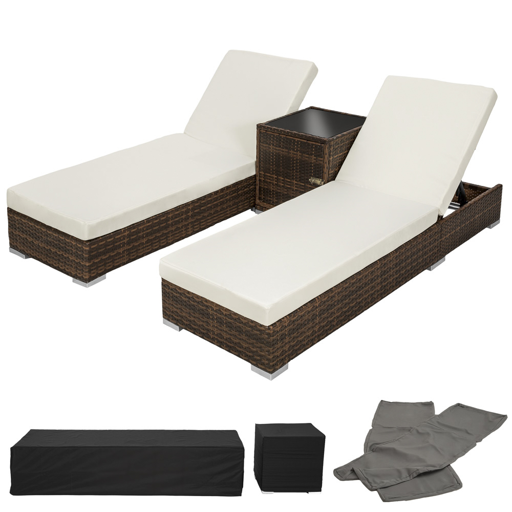 2x alu polyrattan sonnenliege tisch gartenliege rattan liege gartenm bel braun ebay. Black Bedroom Furniture Sets. Home Design Ideas