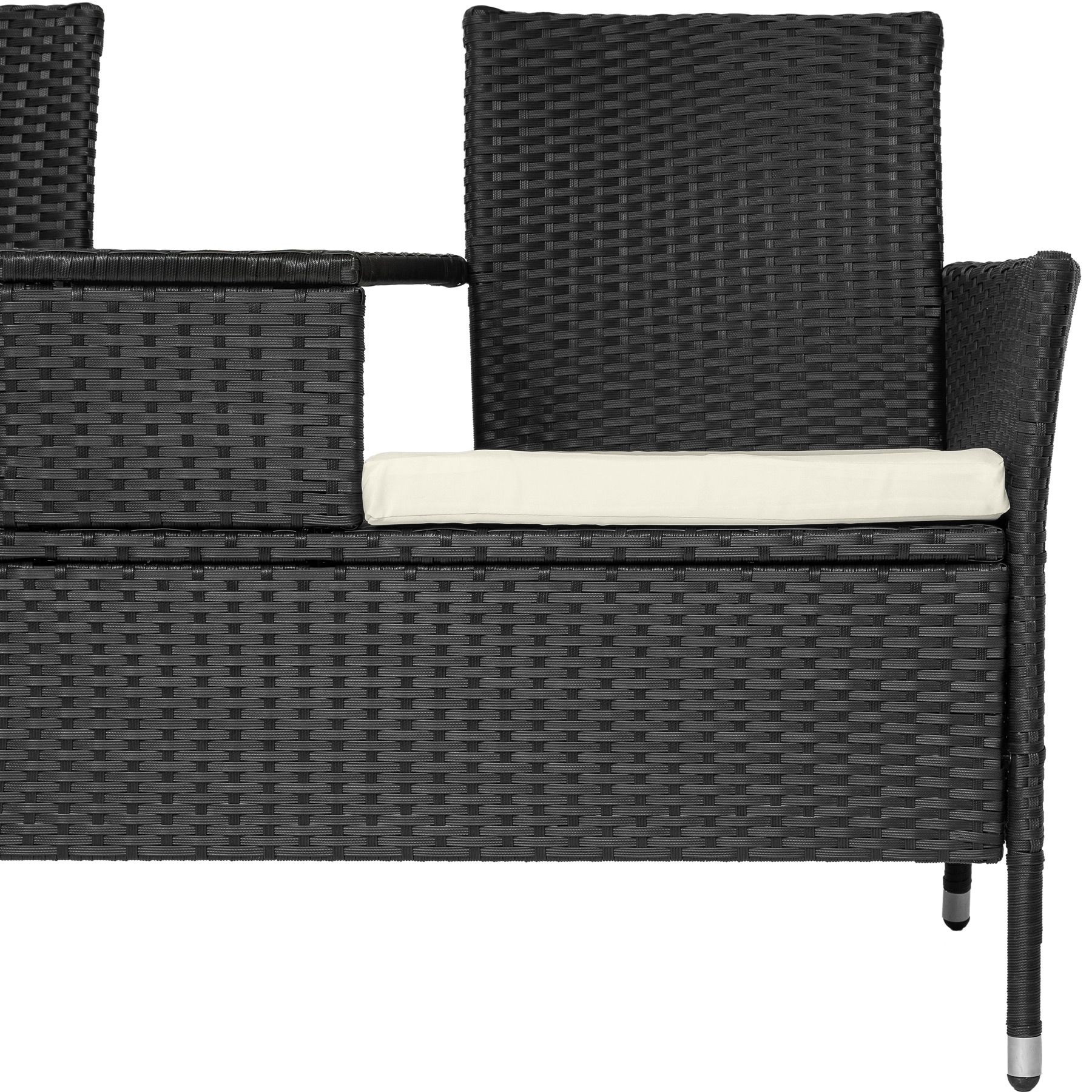 poly rattan gartenm bel sitzbank mit tisch lounge bank sofa gartenbank schwarz ebay. Black Bedroom Furniture Sets. Home Design Ideas