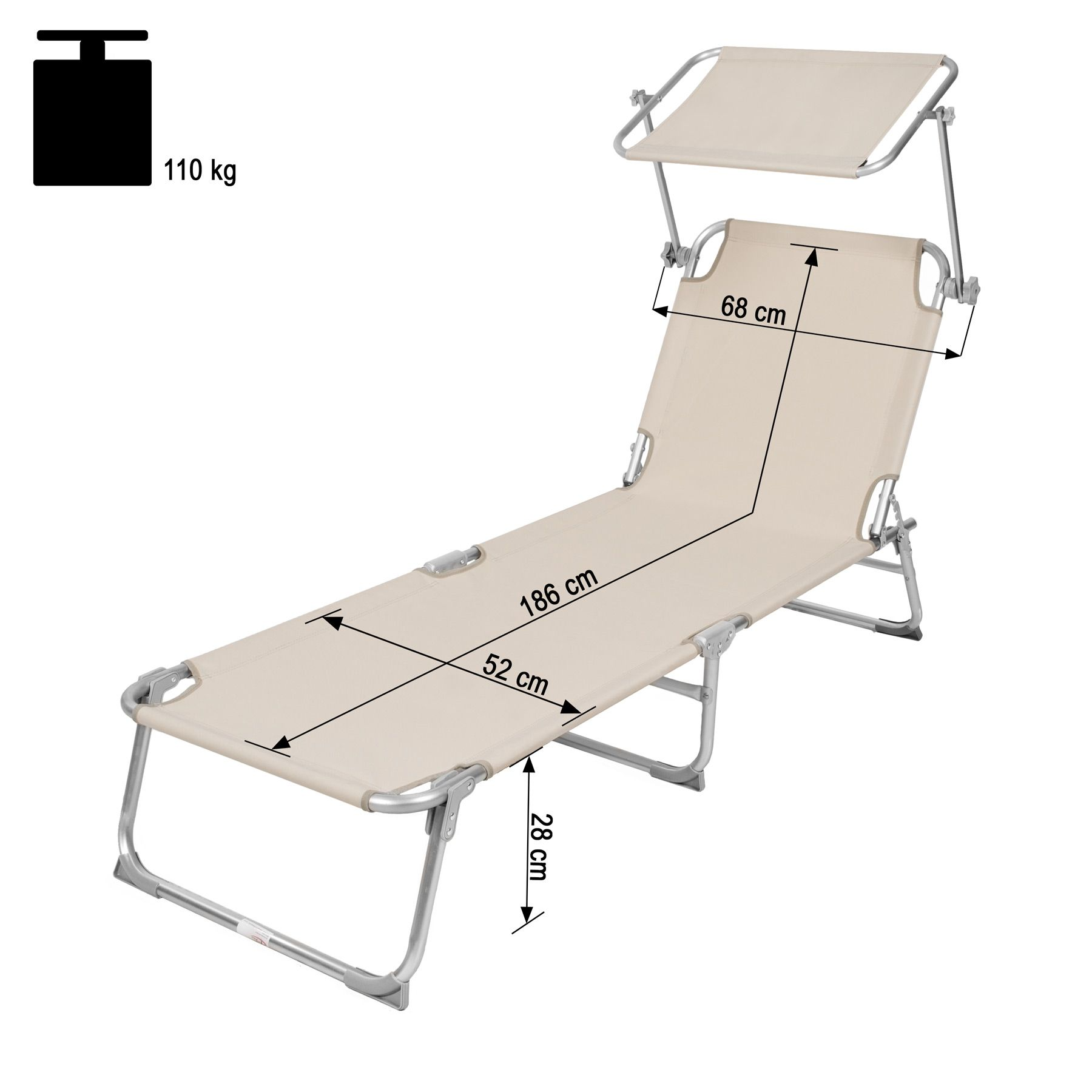 jardin beige de longue sur Détails soleil Alu bain chaise de pliante transat soleilpare A54R3jLq