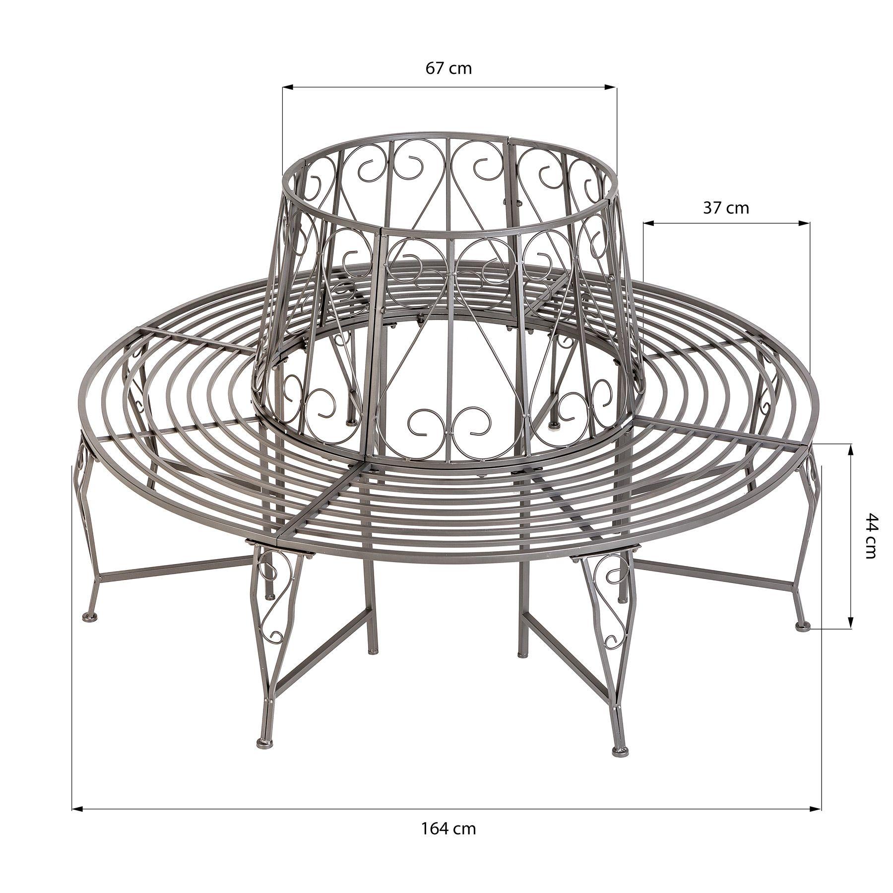 Banc De Jardin Pour Arbre 360 Rond 164cm Circulaire Ancien Métal