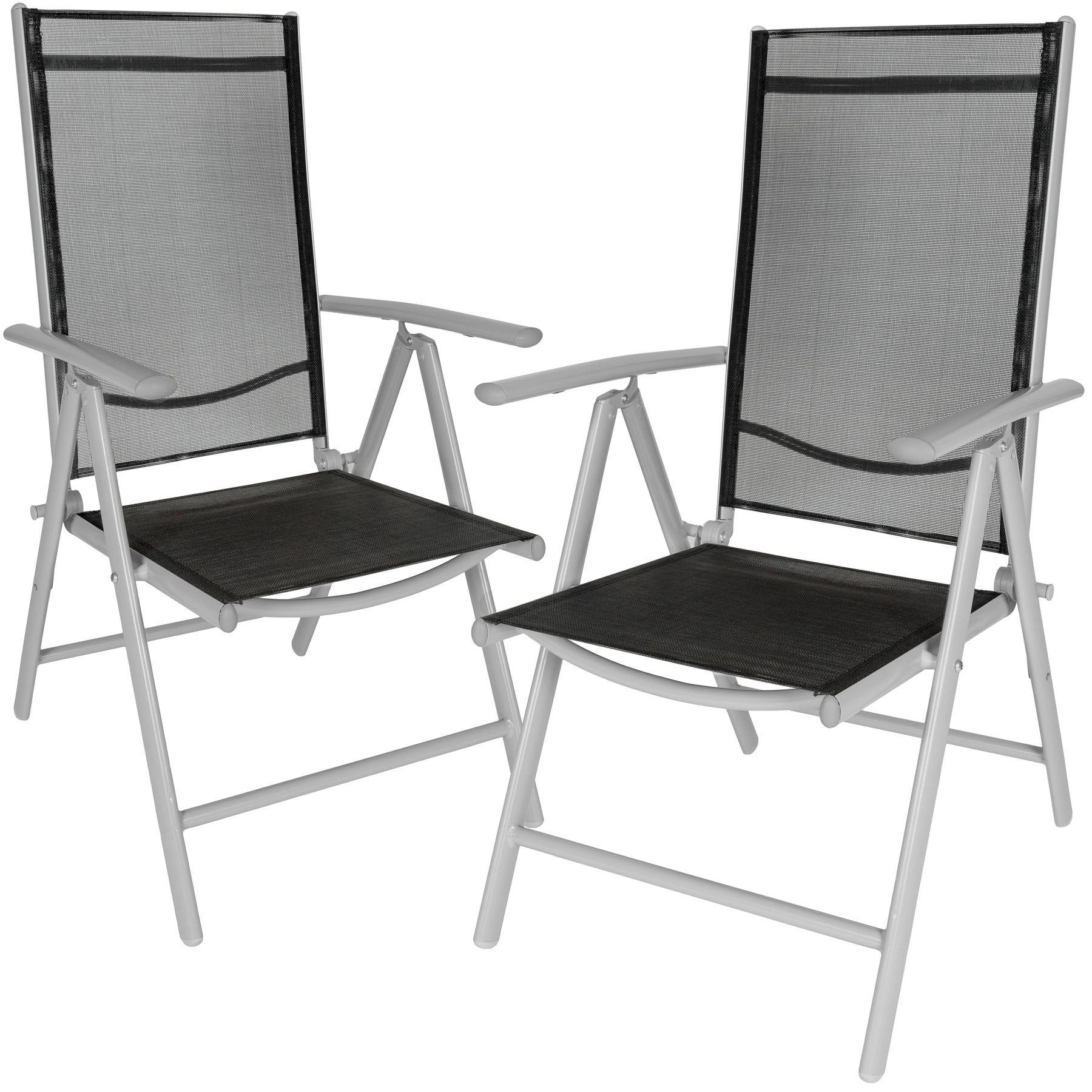 TecTake Aluminium folding garden chairs set adjustable with