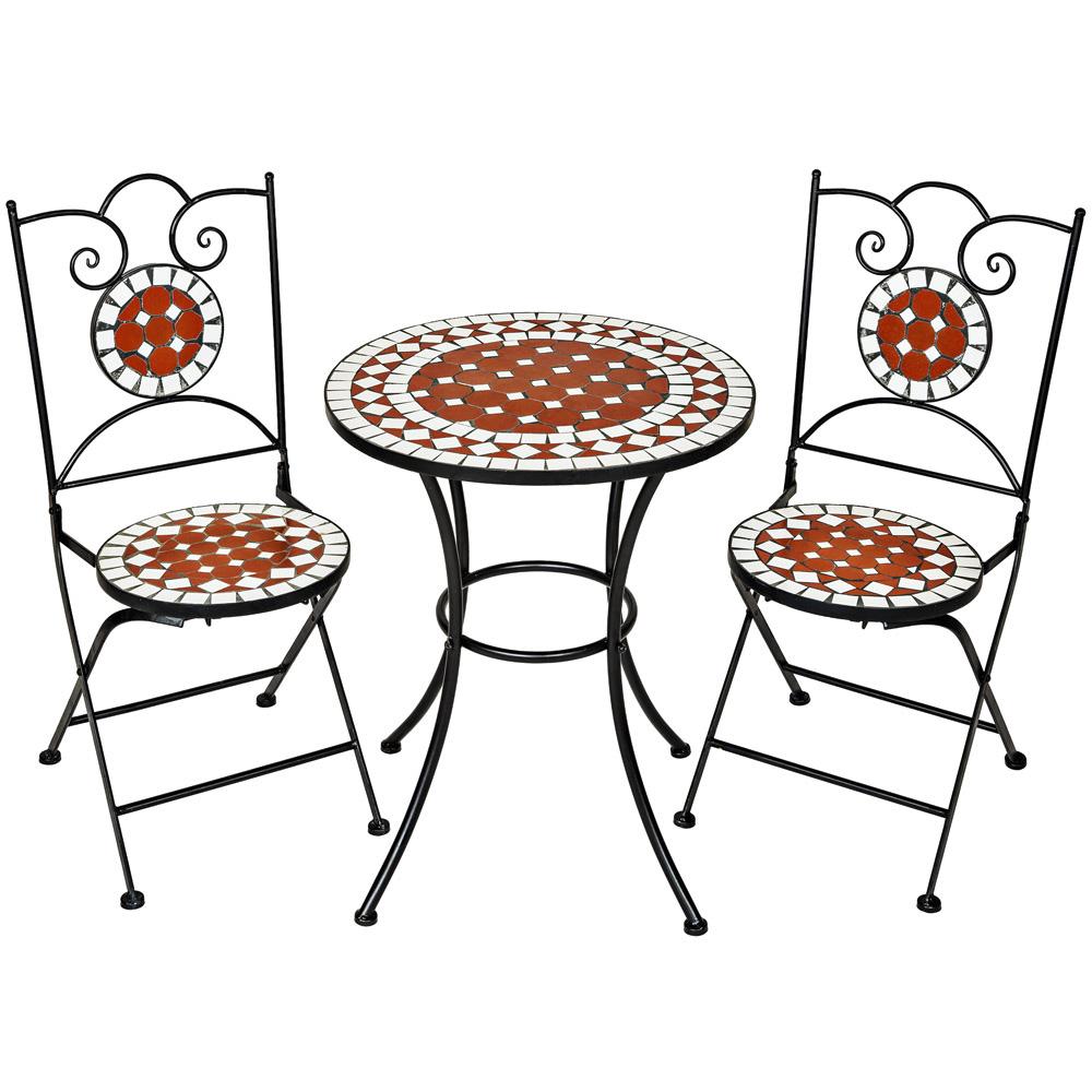 Conjunto de muebles de jardín mosaico mesa con sillas terraza metal ...