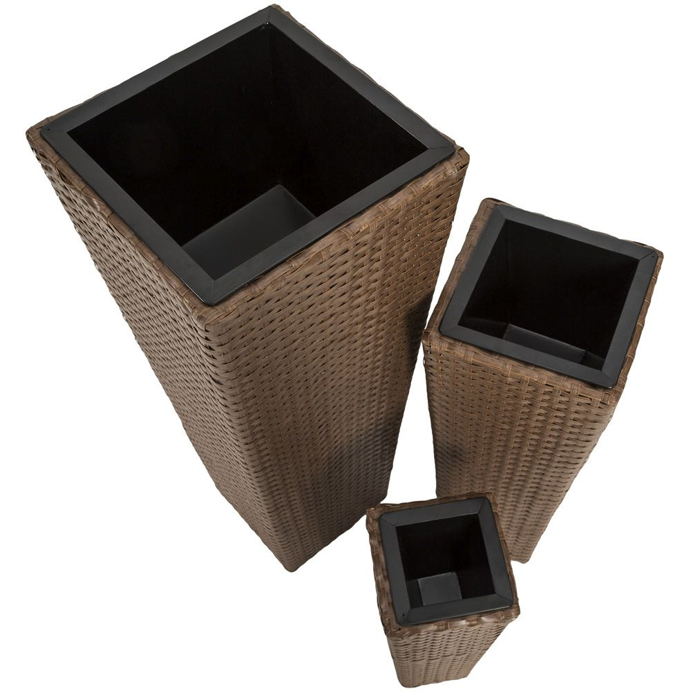 3er set blumentopf blumenk bel pflanzk bel pflanzenk bel poly rattan optik braun ebay. Black Bedroom Furniture Sets. Home Design Ideas