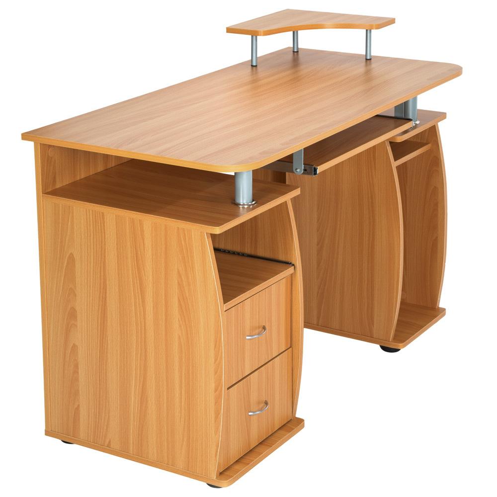 computertisch pc tisch arbeitstisch mit schubladen schreibtisch b rom bel buche ebay. Black Bedroom Furniture Sets. Home Design Ideas