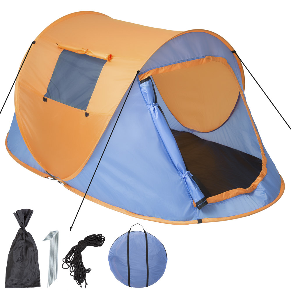 wurfzelt pop up zelt automatikzelt camping strand trekkingzelt 2 personen blau ebay. Black Bedroom Furniture Sets. Home Design Ideas