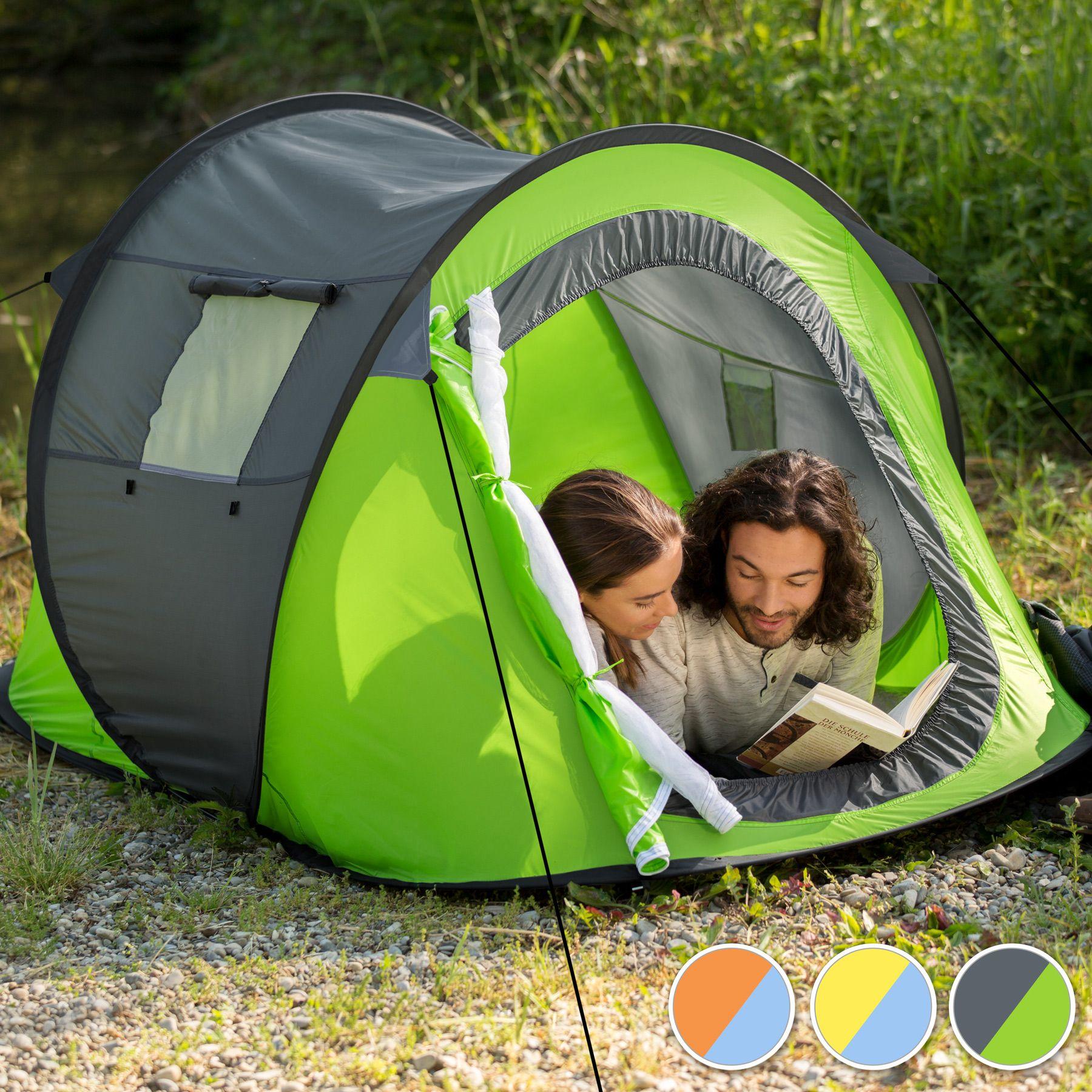 wurfzelt pop up zelt automatikzelt camping strand trekkingzelt 2 personen gr n ebay. Black Bedroom Furniture Sets. Home Design Ideas