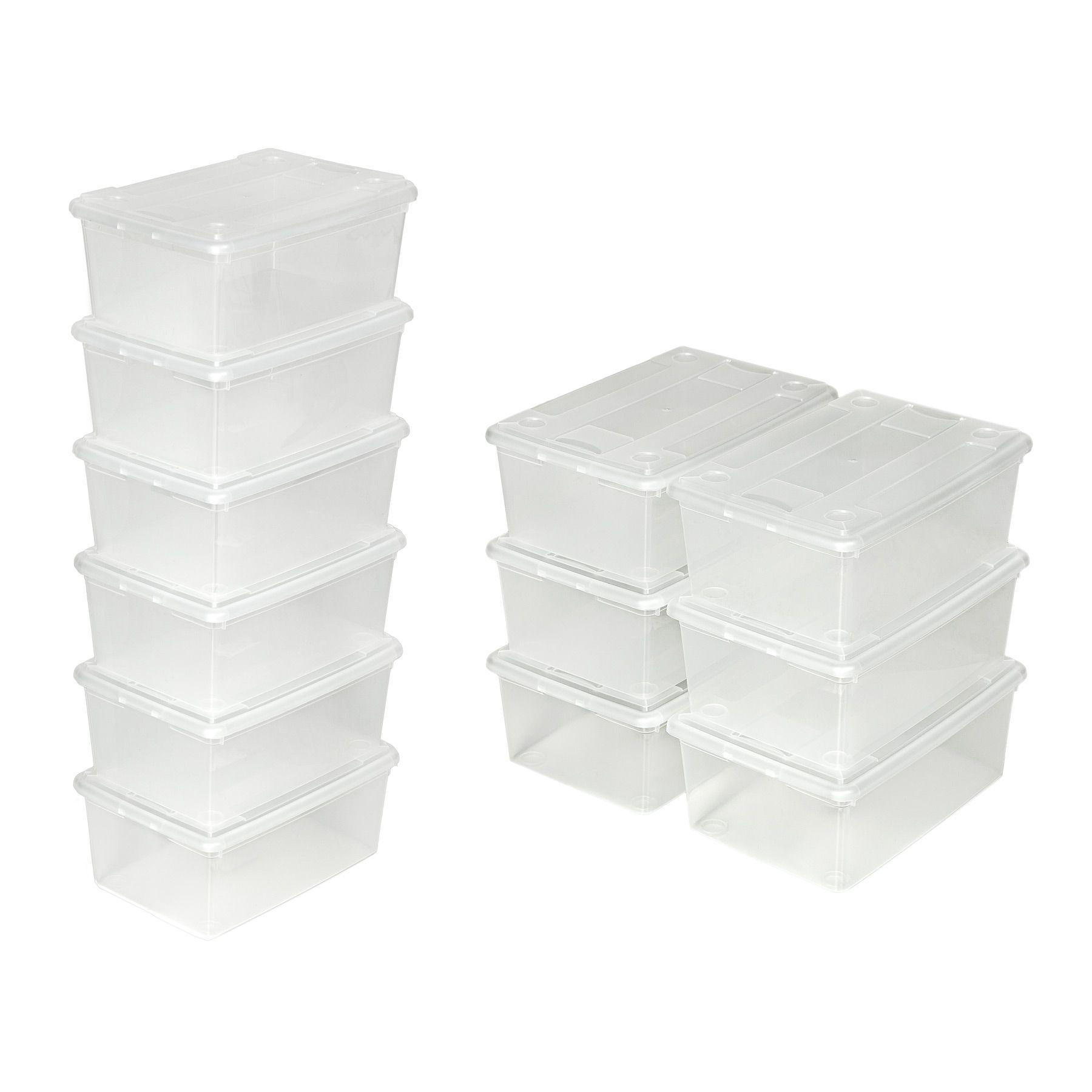 6er set schuhbox mit deckel stapelbar aufbewahrungsbox. Black Bedroom Furniture Sets. Home Design Ideas
