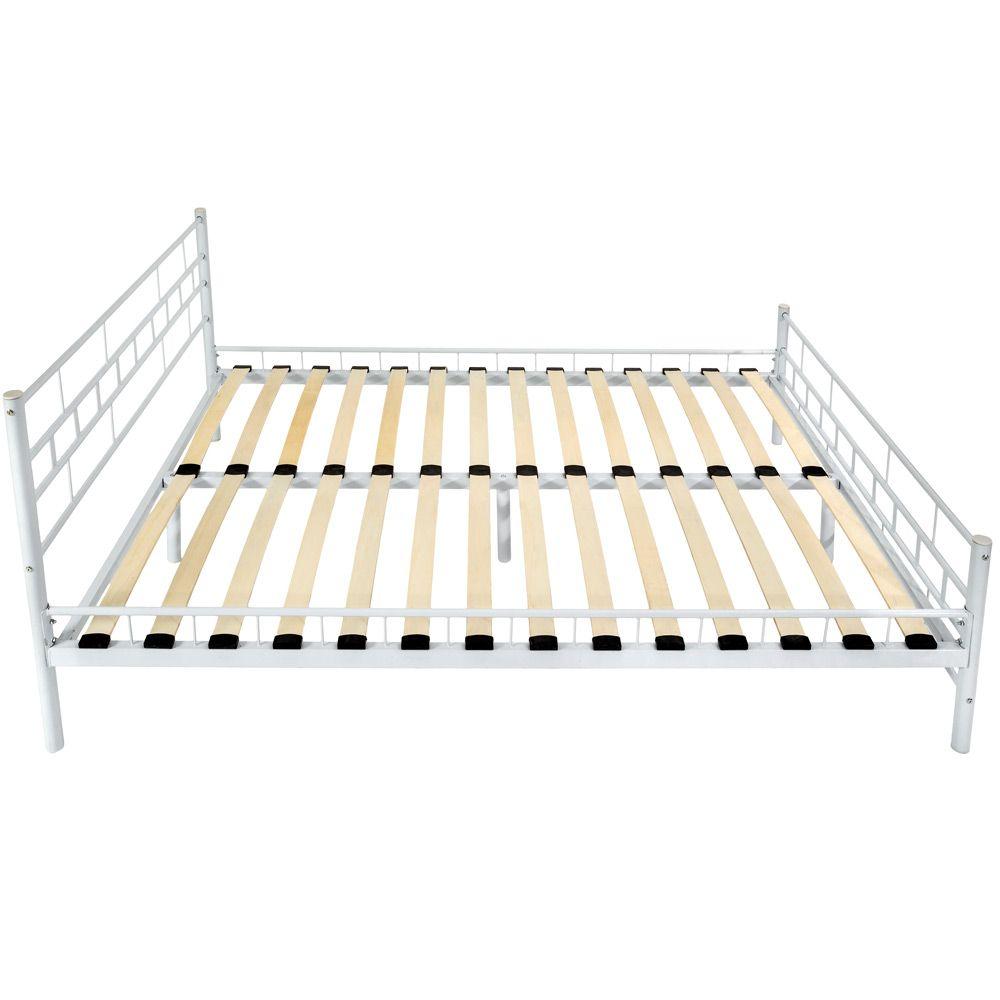 140x200cm Schlafzimmerbett Metallbett Bettgestell Bett groß weiß + ...