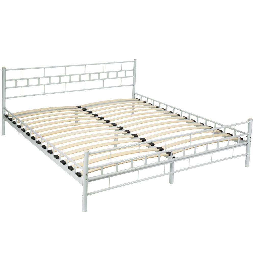 180x200cm Schlafzimmerbett Bettgestell Metall Bett Doppelbett weiß + ...