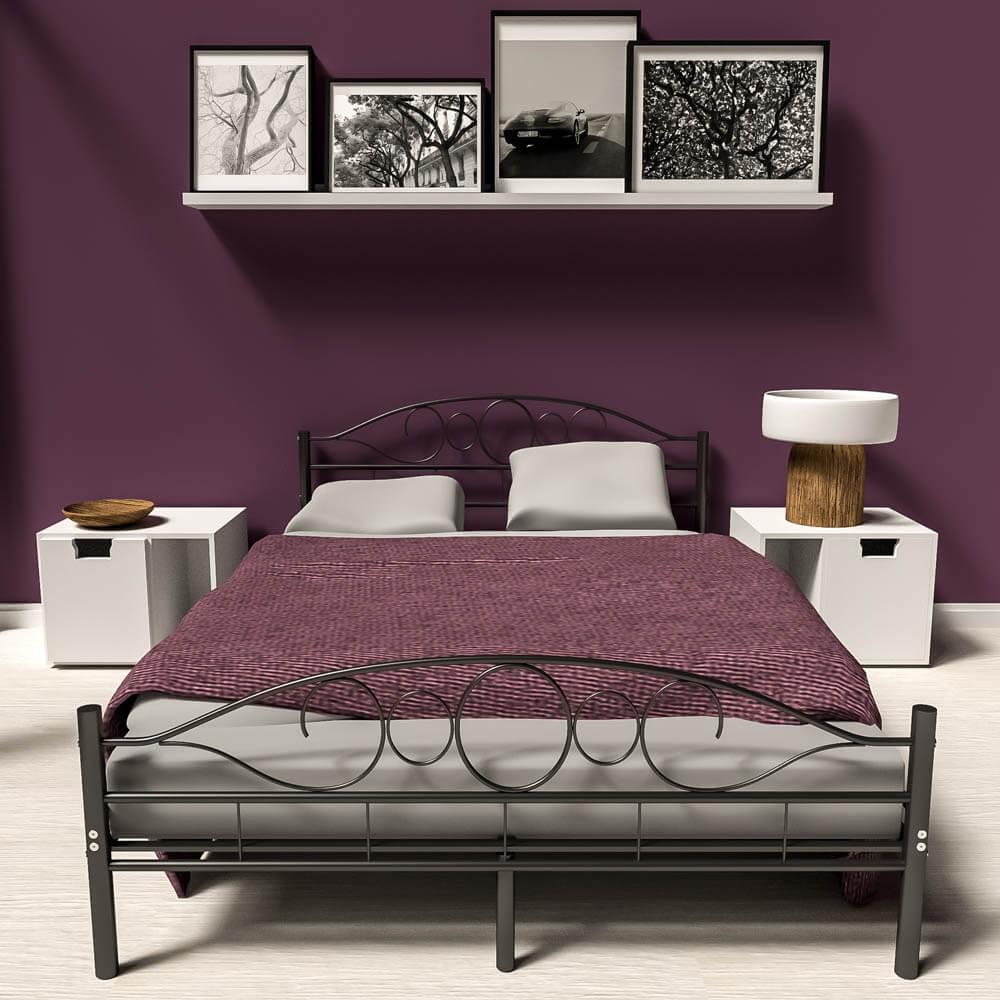 140x200 cm Schlafzimmerbett Metallbett Bettgestell Bett schwarz neu ...