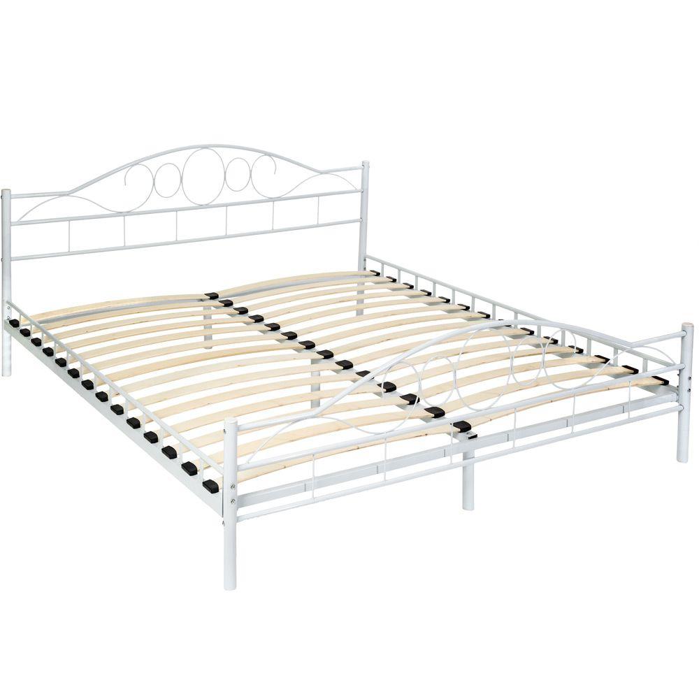 180x200 cm Schlafzimmerbett Bettgestell Metall Bett Doppelbett weiß ...
