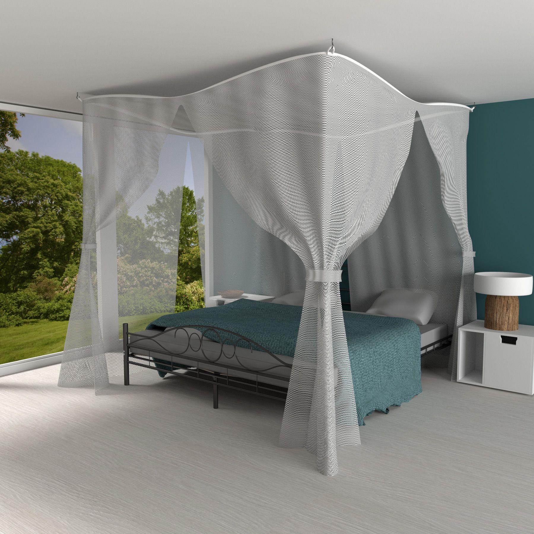 ciel de lit moustiquaire baldaquin grande protection voile moustiques blanc ebay. Black Bedroom Furniture Sets. Home Design Ideas