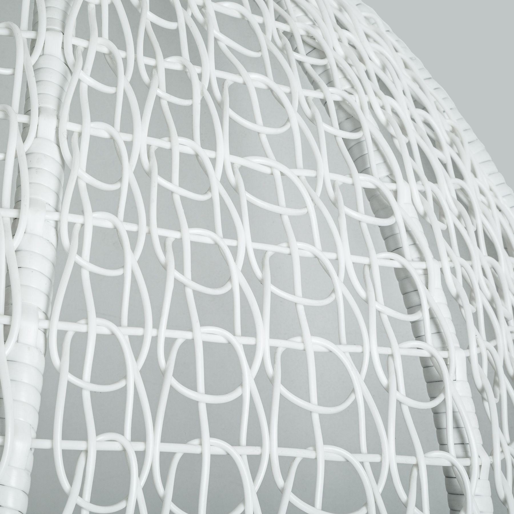 h ngesessel mit gestell h ngekorb polyrattan h ngestuhl h ngeschaukel wei ebay. Black Bedroom Furniture Sets. Home Design Ideas