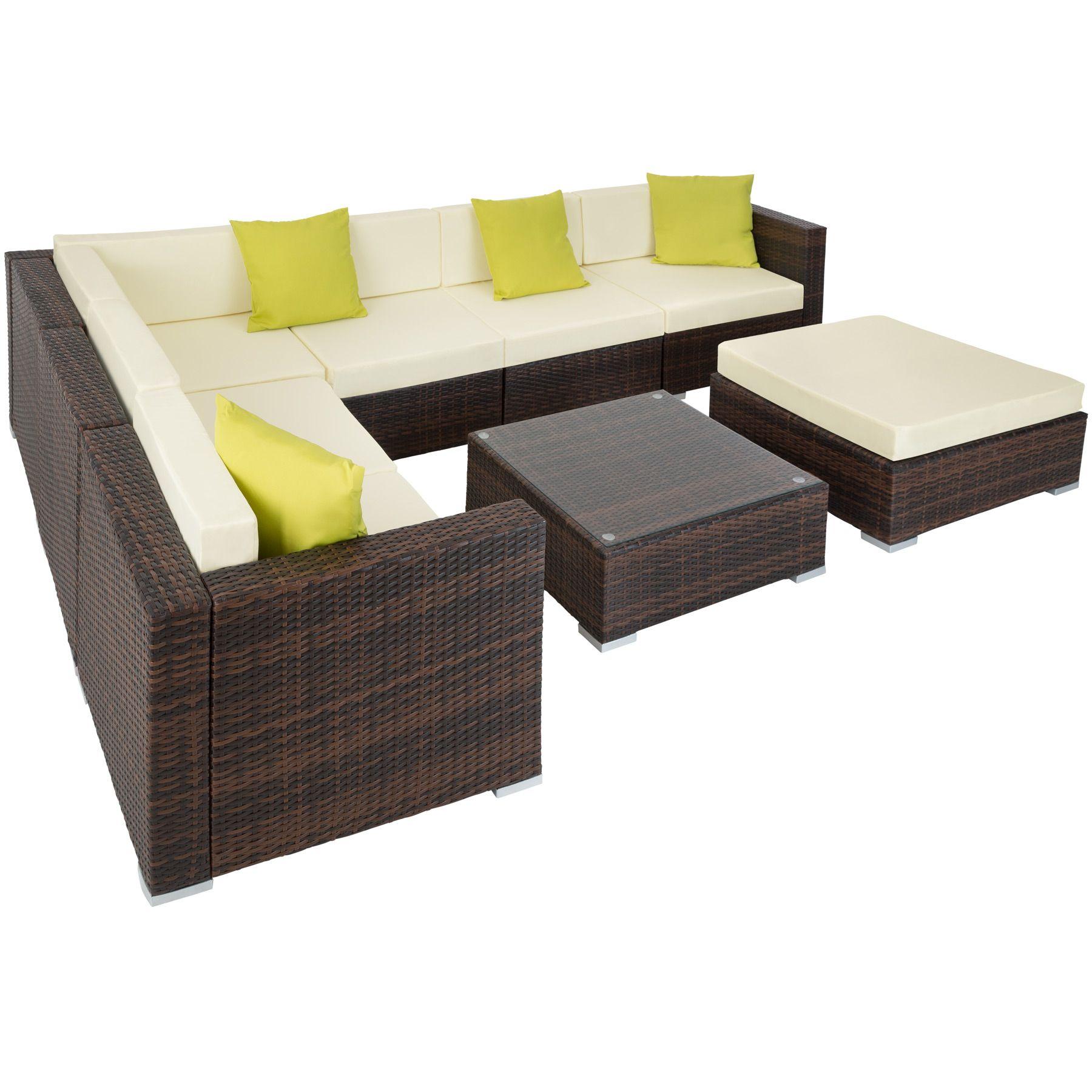 Alu Poly Rattan Sitzgruppe Lounge Rattanmöbel Gartenmöbel Sofa Tisch ...