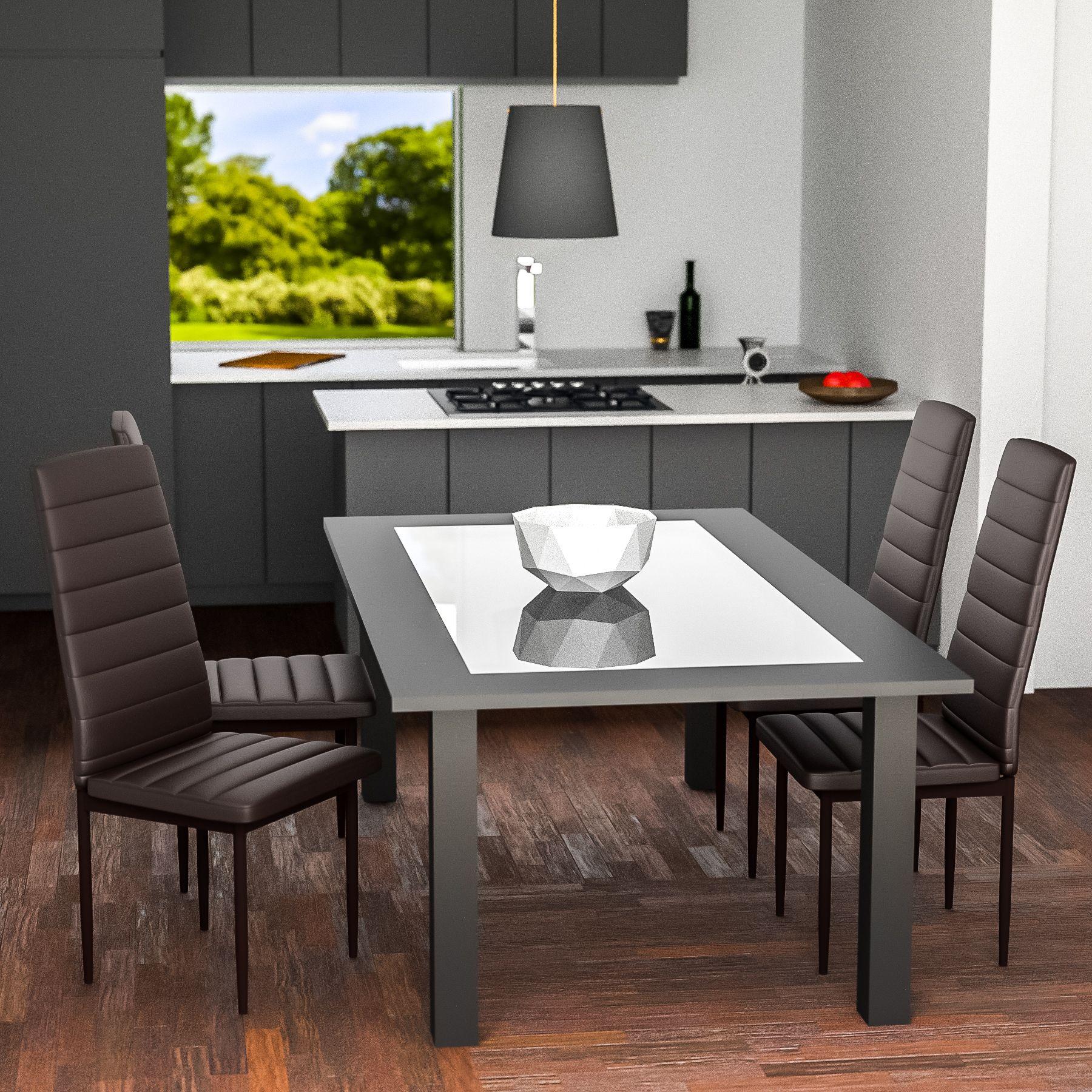 Tavoli Eleganti Sala Da Pranzo dettagli su set di 4 sedia per sala da pranzo tavolo cucina eleganti  moderne robusto marrone