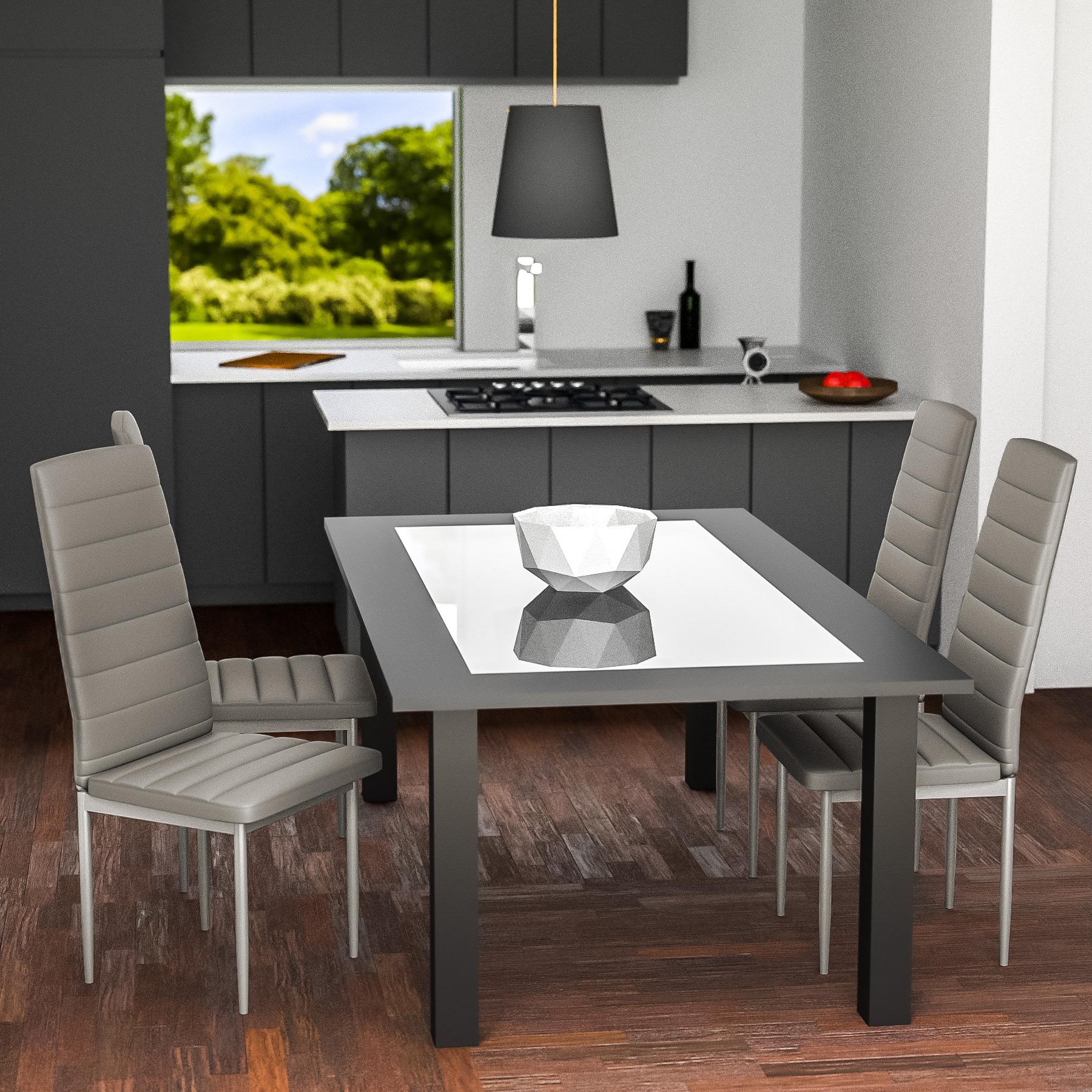 Set di 4 sedia per sala da pranzo tavolo cucina eleganti moderne ...